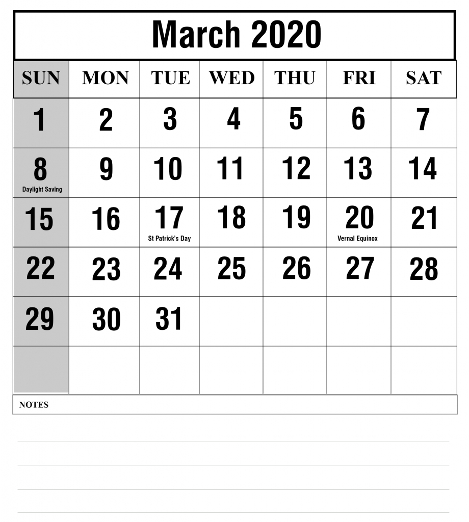 Free Blank March 2020 Calendar Printable In Pdf, Word, Excel inside Calendar With All The Special Days In 2020