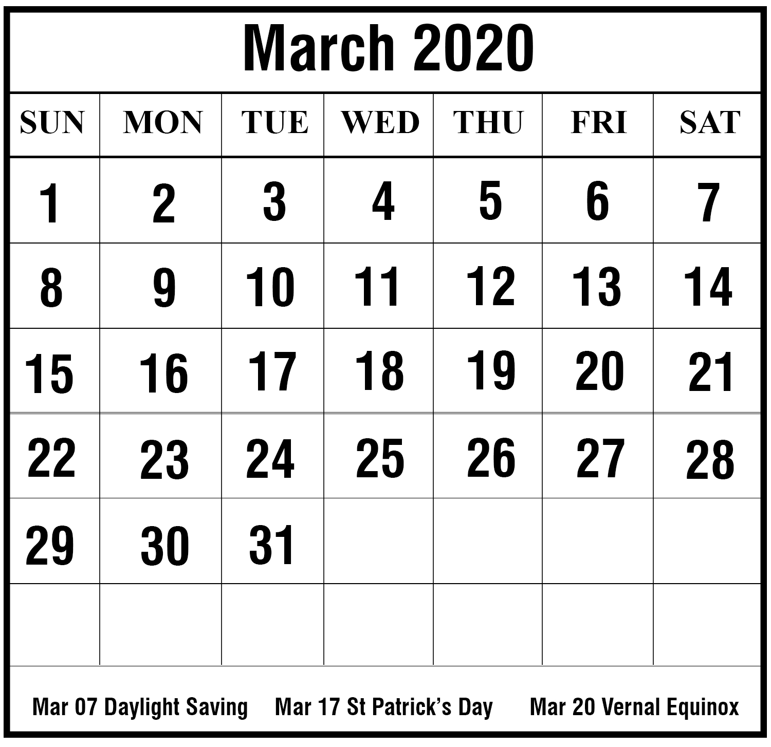 Free Blank March 2020 Printable Calendar In Pdf Excel & Word for Blank 2020 Calendars To Edit