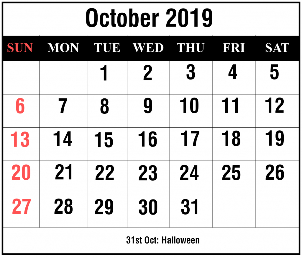 Free Blank October 2019 Calendar Printable In Pdf, Word, Excel pertaining to Calendar October 2019 Pocket Calendar