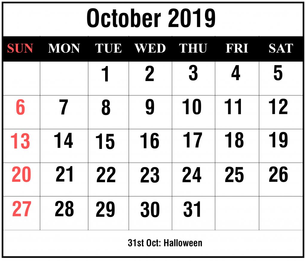 Free Blank October 2019 Calendar Printable In Pdf, Word, Excel pertaining to Calendar October 2019 Pocket Calendar