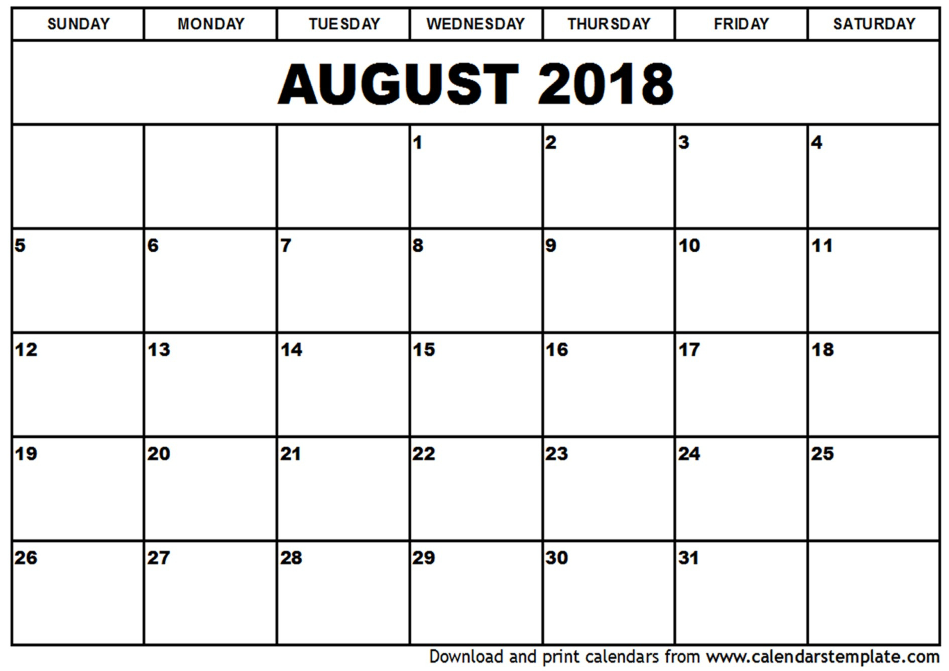 Free Blank Preschool August 2018 Calendars Printable For Free pertaining to August Calendar Template For Pre K