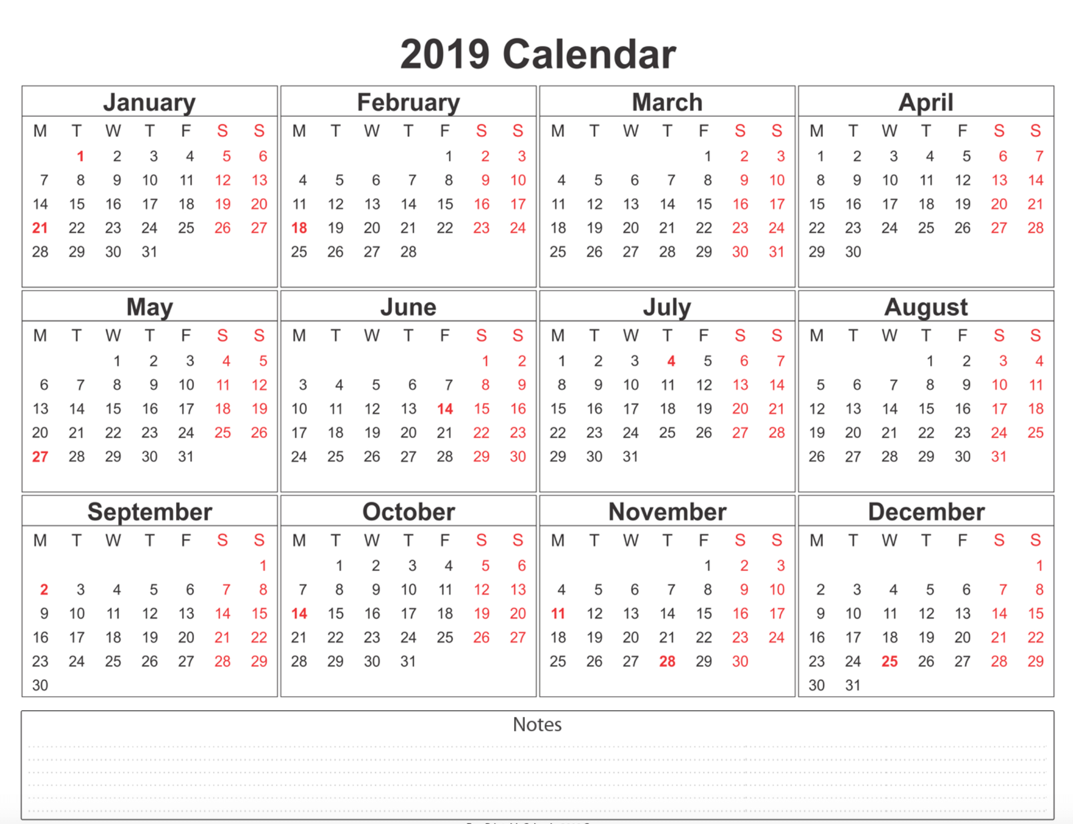 Free Blank Printable Calendar 2019 With Holidays Template Word within Monthly Calendar Templates 12 Months