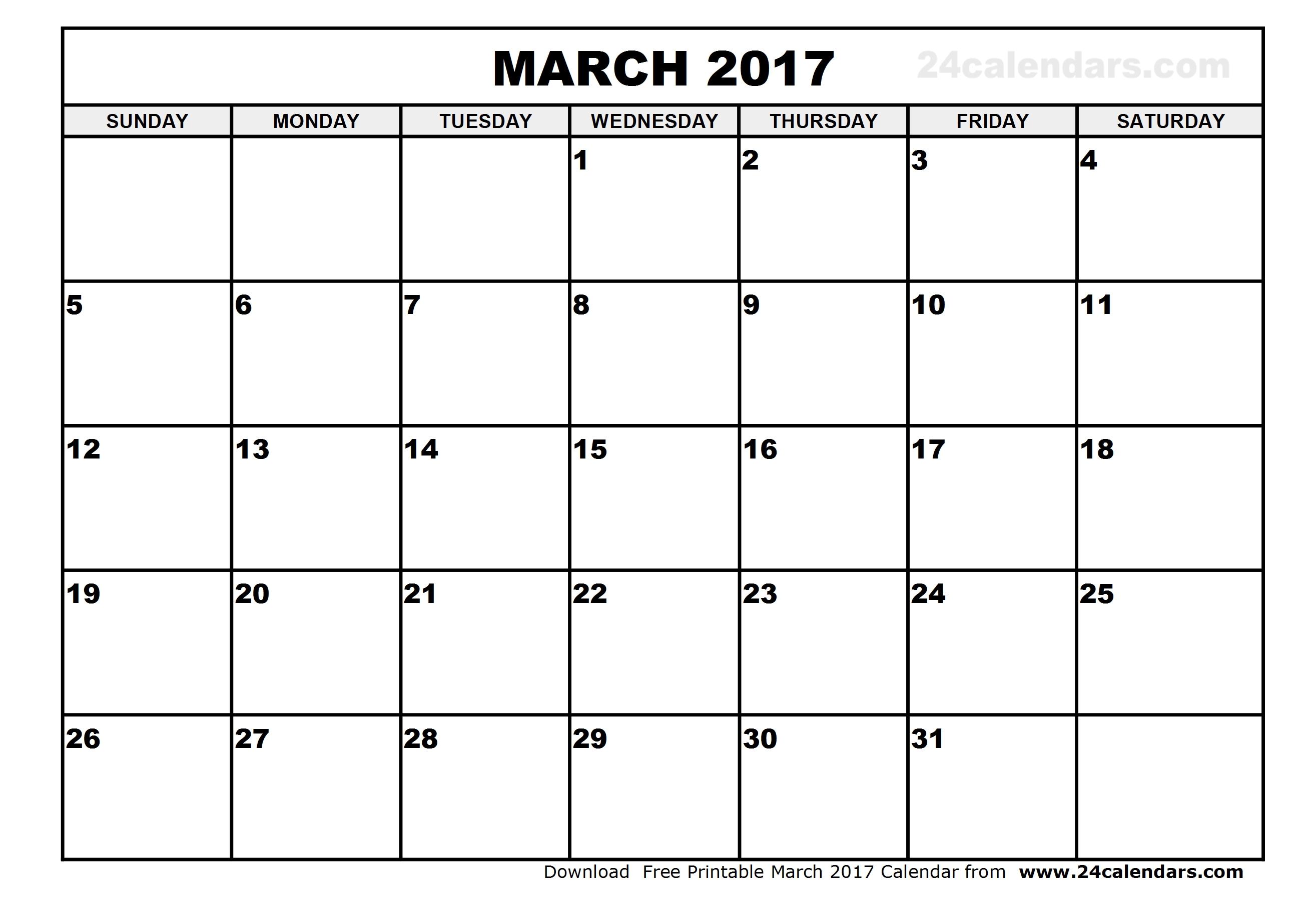 Free-Blank-Printable-March-2017-Calendar-Printable in Blank Printable Monthly Calendar