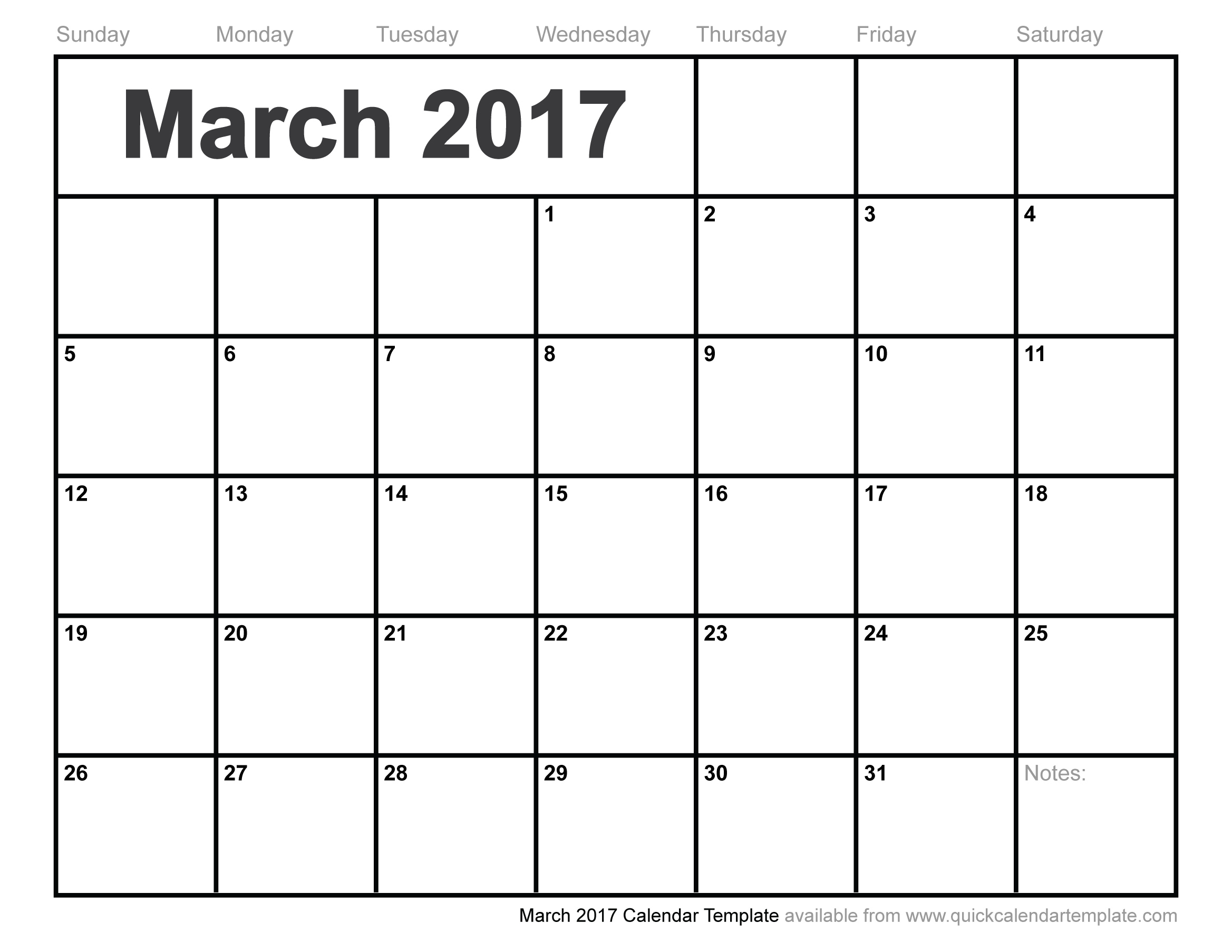 Free-Blank-Printable-March-2017-Calendar-Template in Pretty Calendar Template Printable March