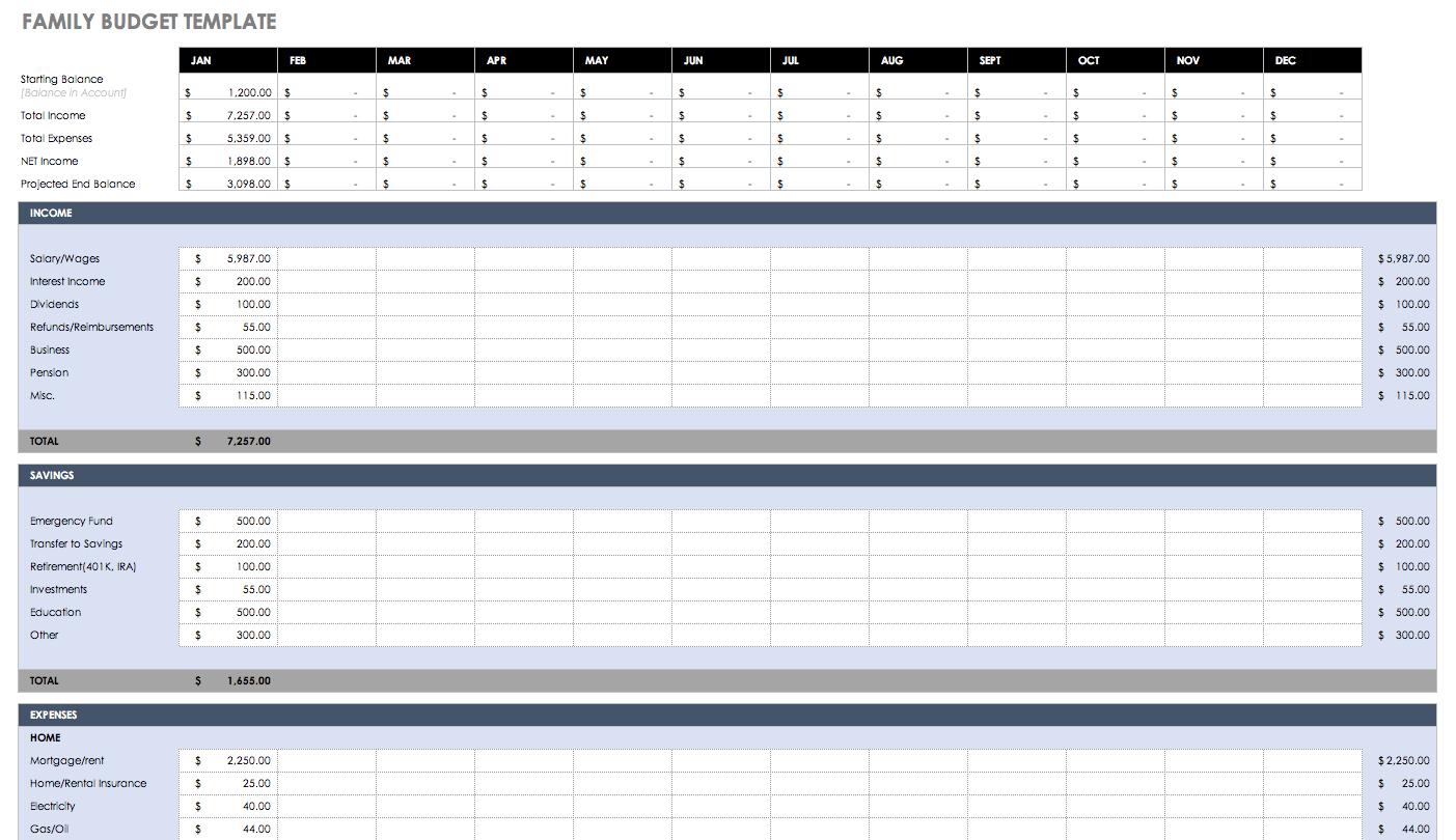 Free Budget Templates In Excel | Smartsheet inside Mothly Bill Payment Balance Sheet Blank