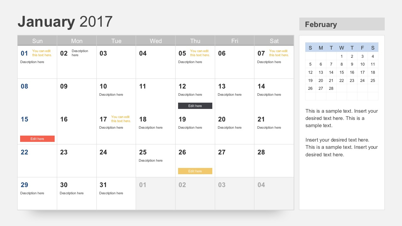Free Calendar 2017 Template For Powerpoint pertaining to Event Planning Calendar Template