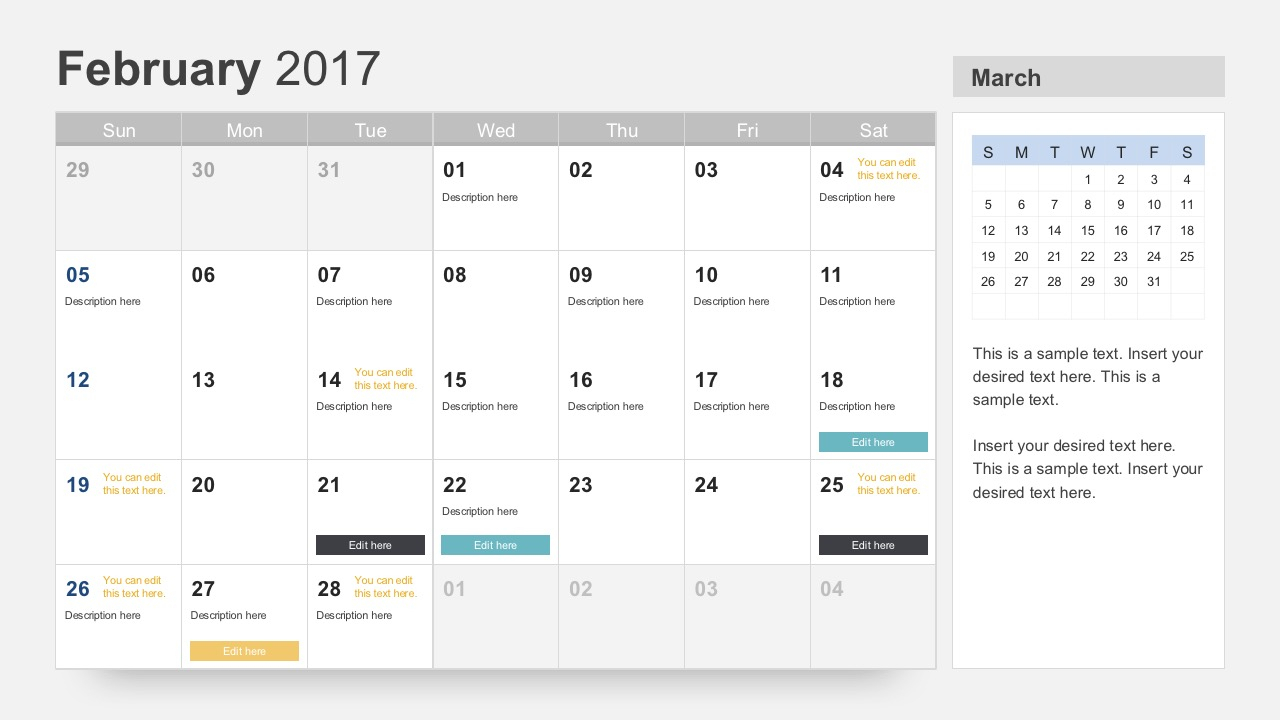 Free Calendar 2017 Template in Monthly Calendar Powerpoint Template