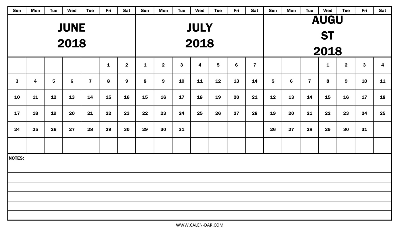 Free Calendar 2018 June July August | 3 Monthly Template To Print in Template June July August