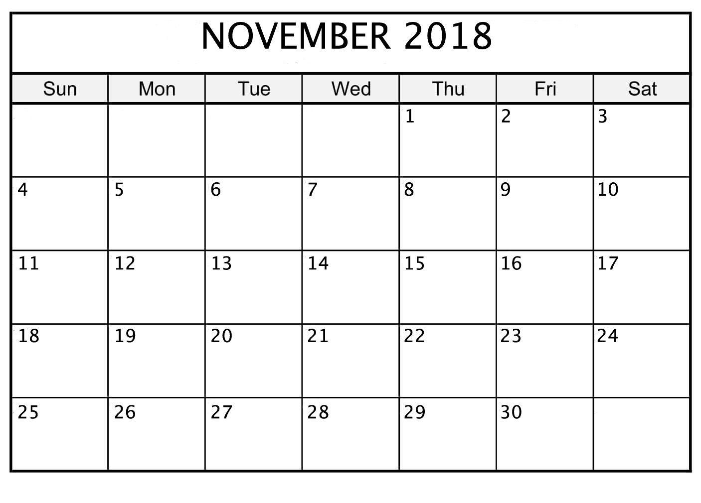 Free Calendar Design November 2018 Printable | November 2018 with Nov Calendar Printable Template