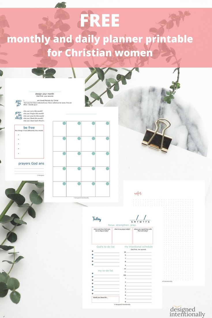 Free Christian Monthly And Daily Planner Printable From Designed inside Catholic Daily Planner Template Printable Free