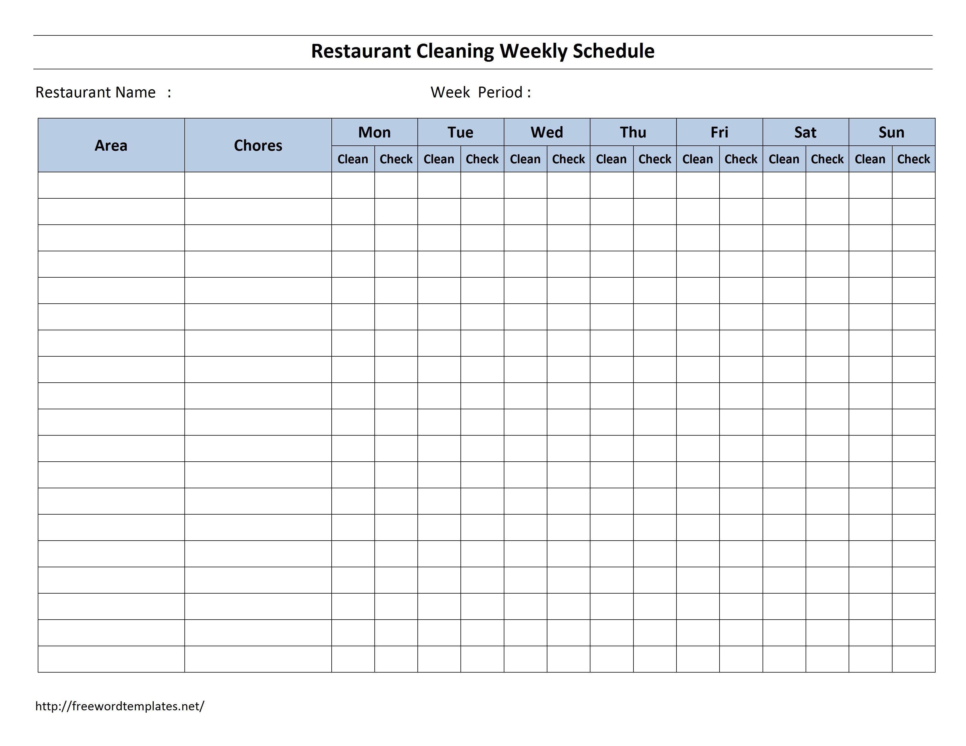 Free Cleaning Schedule Forms | Excel Format And Payroll Areas For with 3 Day Shift Restaurant Template Sheets Excel