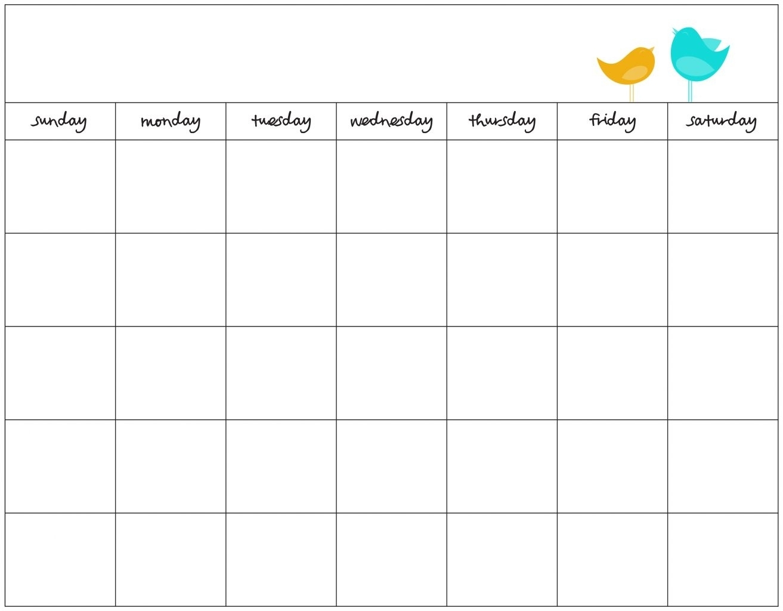 Free Day Blank Calendar Week Template Ble | Smorad for 7 Day Week Blank Calendar