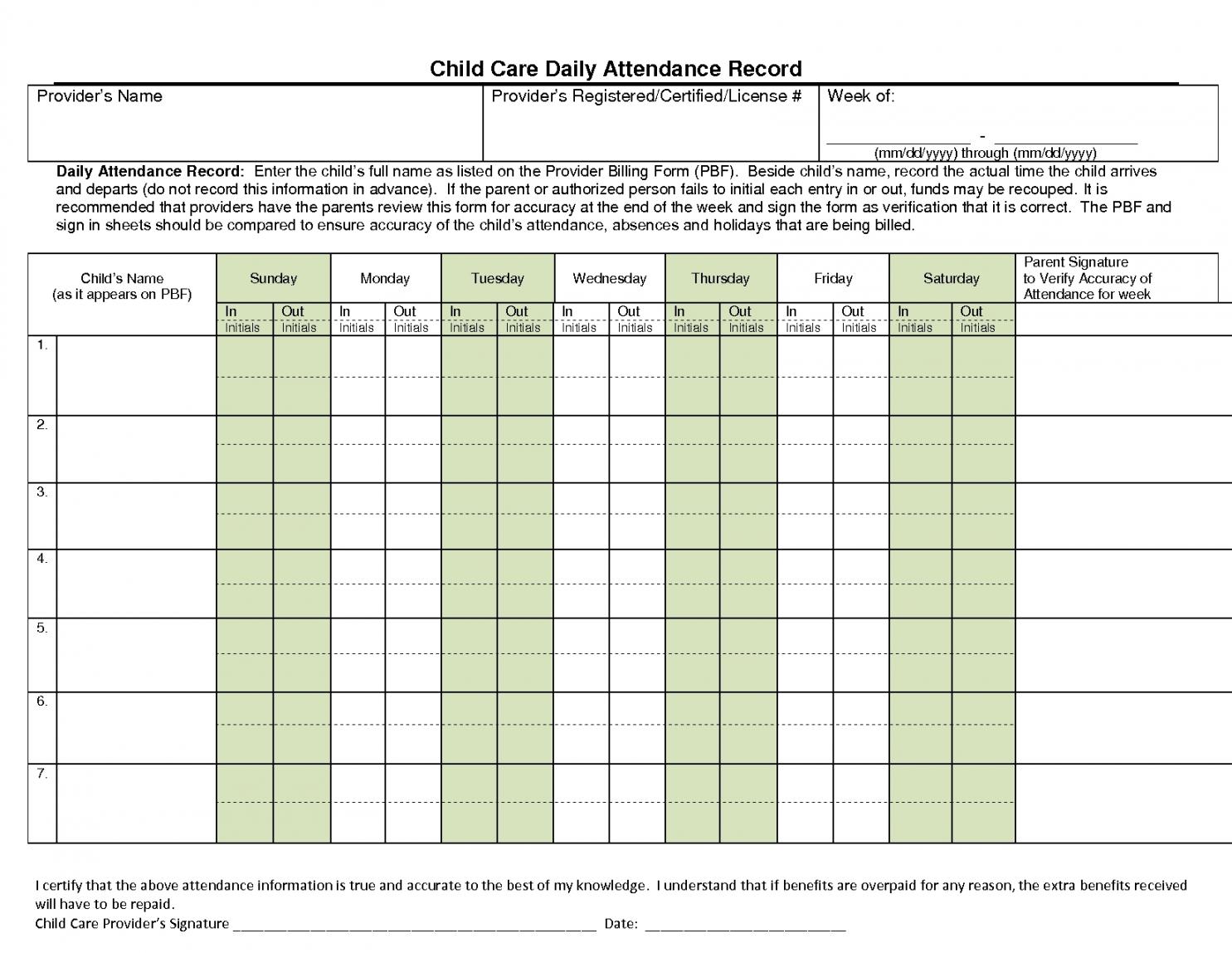 Free Day Care Attendance Sheet Template Holidays Calendar Template regarding Day Care Attendance Sheet Template