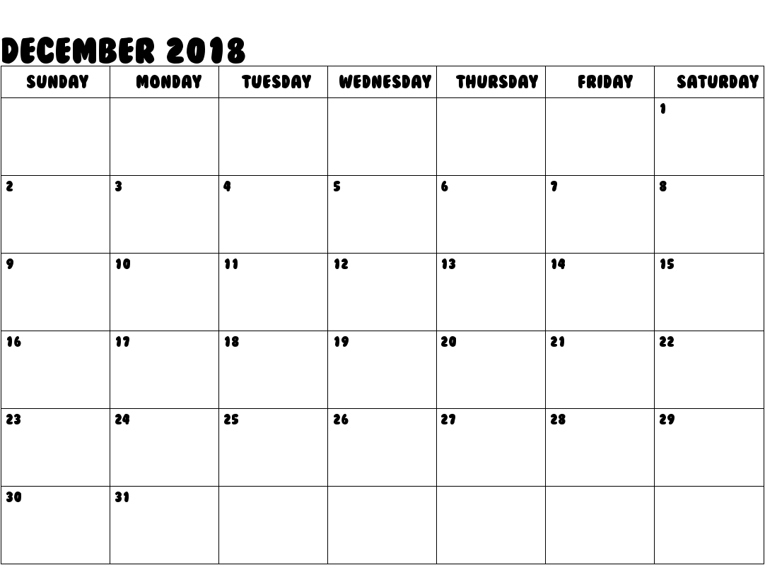 Free December 2018 Calendar | December 2018 Calendar | Printable regarding Free Printable Blank Calendar August-December