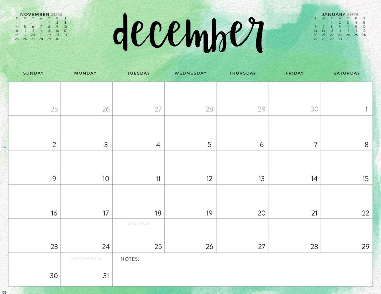 Free December 2018 Calendar Word Pdf Doc Excel Notes Templates Blank inside Christmas Calendar Printable Template