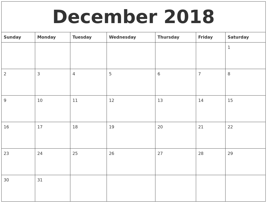 Free December 2018 Printable Calendar Blank Templates - Calendar intended for Blank Monthly Calendar Dec