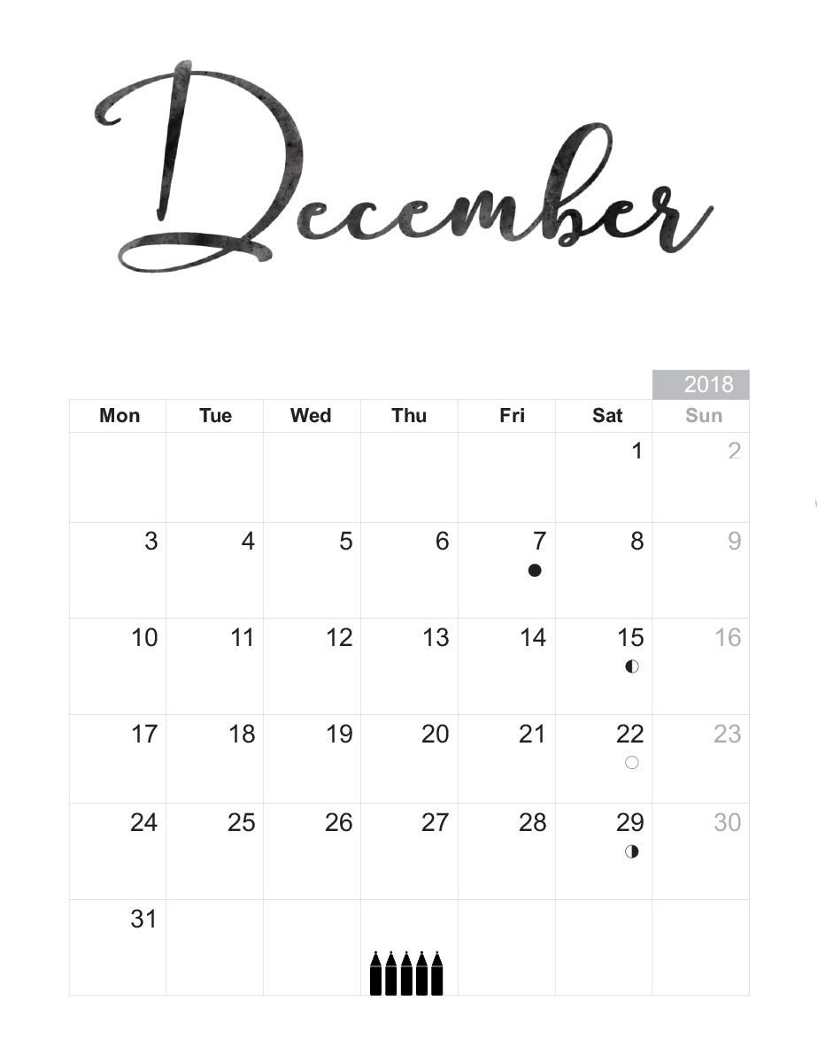 Free December 2018 Printable Calendar Blank Templates - Calendar with December Calendar Printable Template