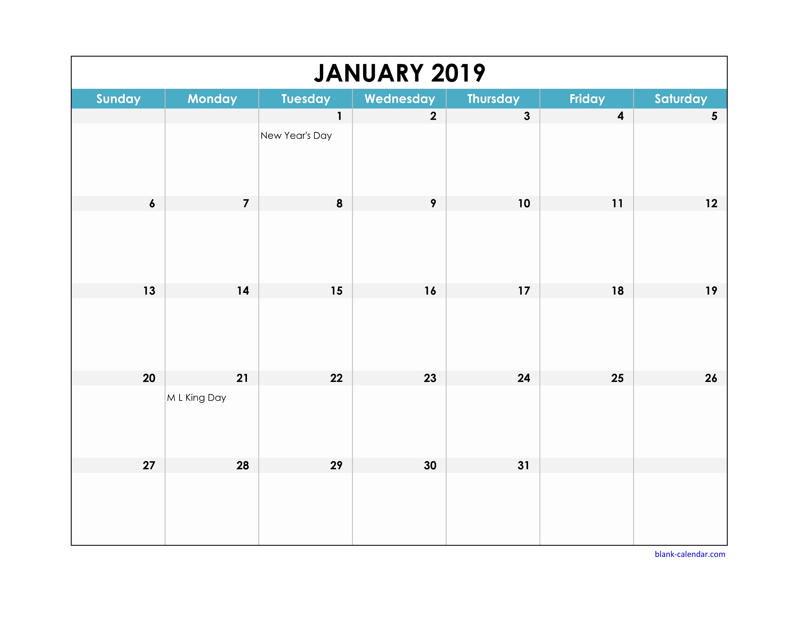 Free Download 2019 Excel Calendar Large Boxes In The Grid (Horizontal) throughout Blank Excel Spreadsheet With Calendar
