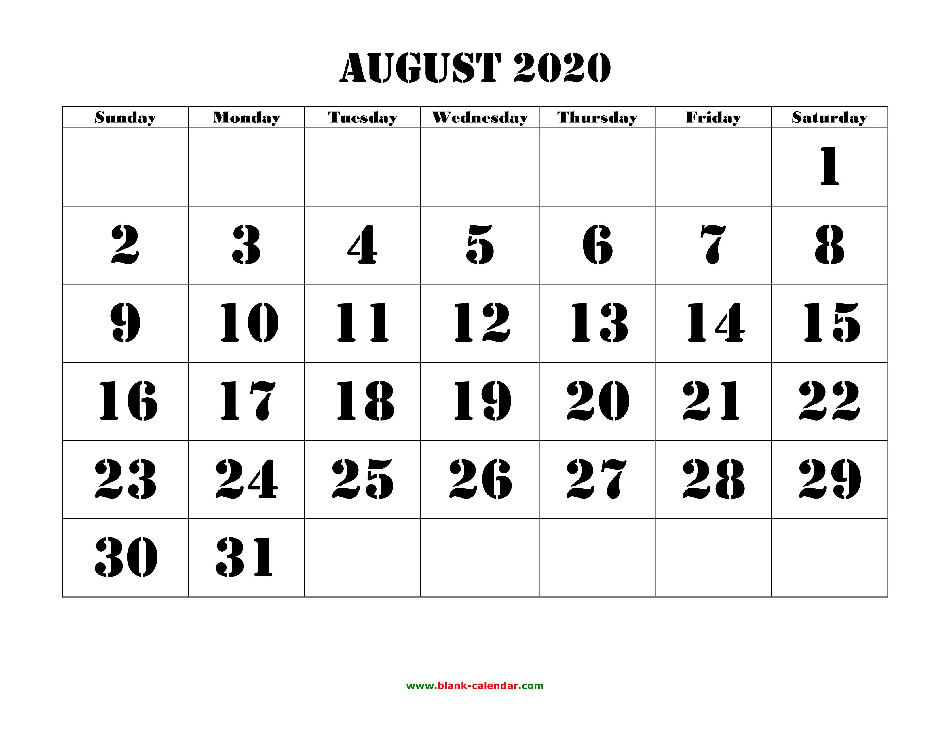 Free Download Printable August 2020 Calendar, Large Font Design inside Kid Freiendly August 2020 Calendars