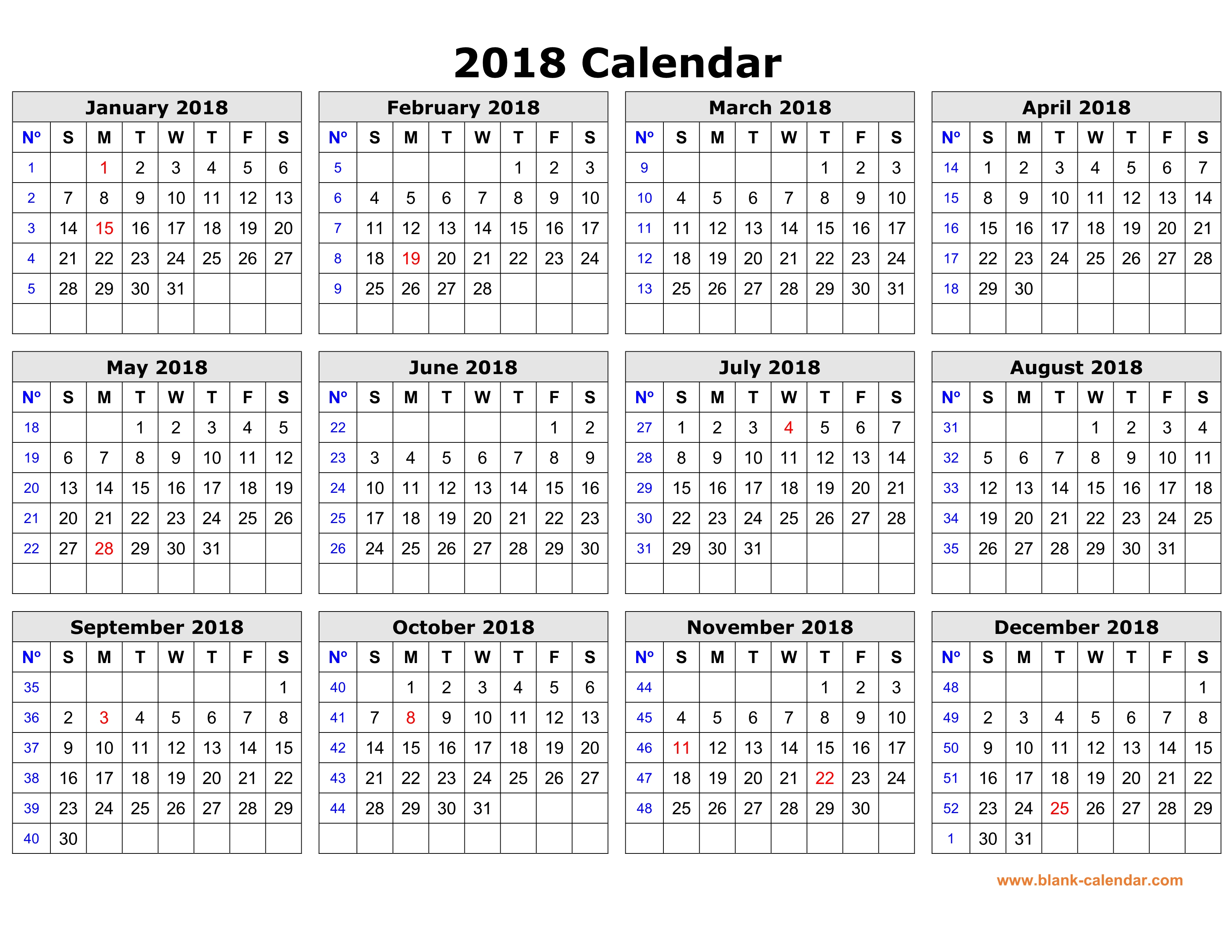 Free Download Printable Calendar 2018 In One Page, Clean Design. intended for Blank Printable Calendars Yearly