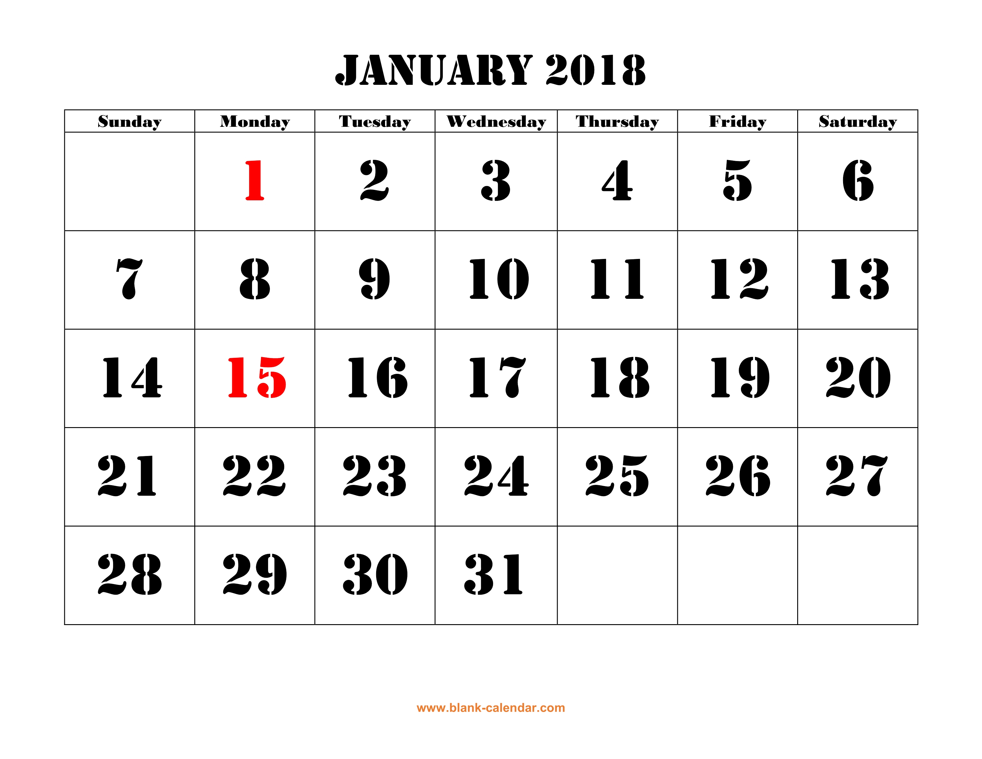 Free Download Printable Calendar 2018, Large Font Design , Holidays regarding Large Printable Blank Calendar Pages