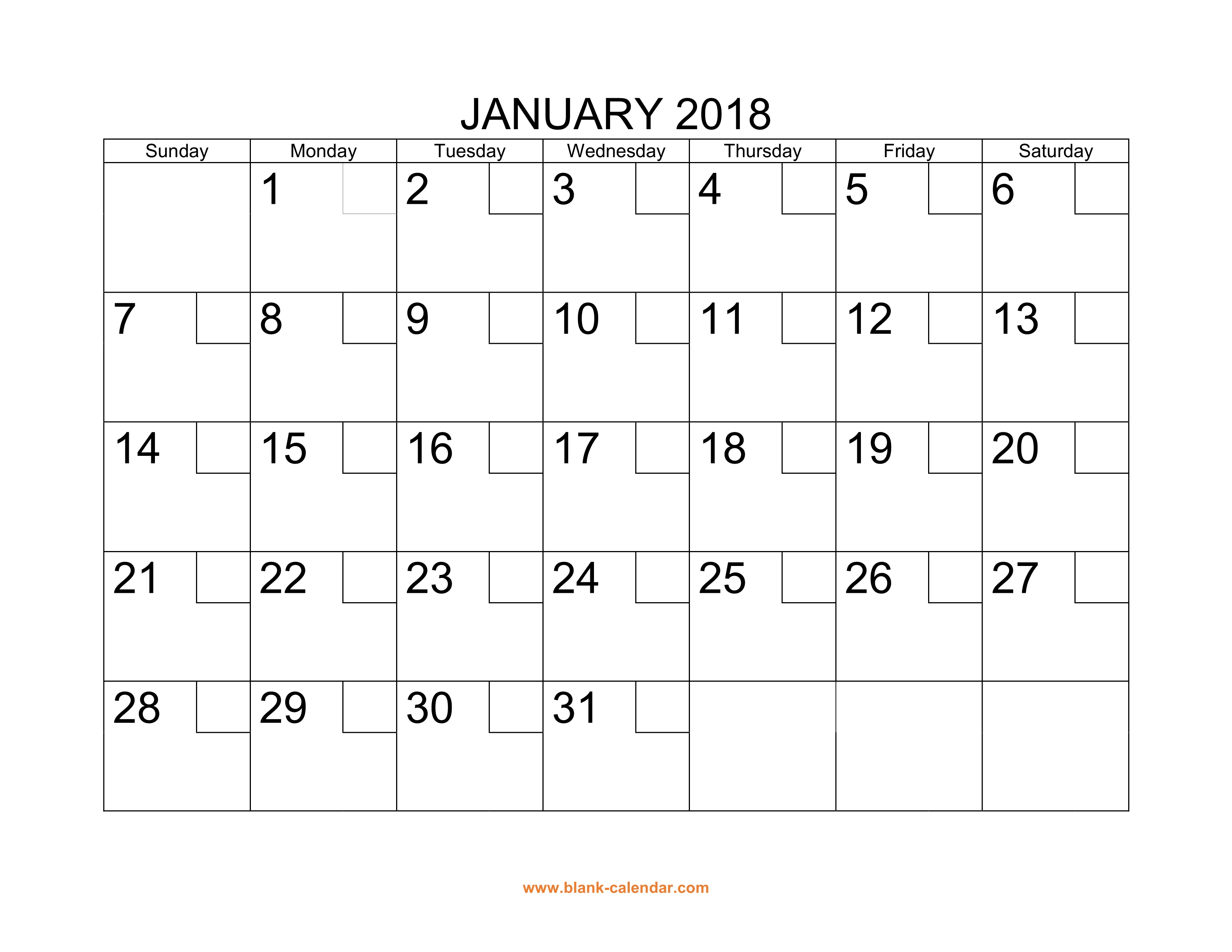 Free Download Printable Calendar 2018 With Check Boxes inside Blank Calendar Month By Month