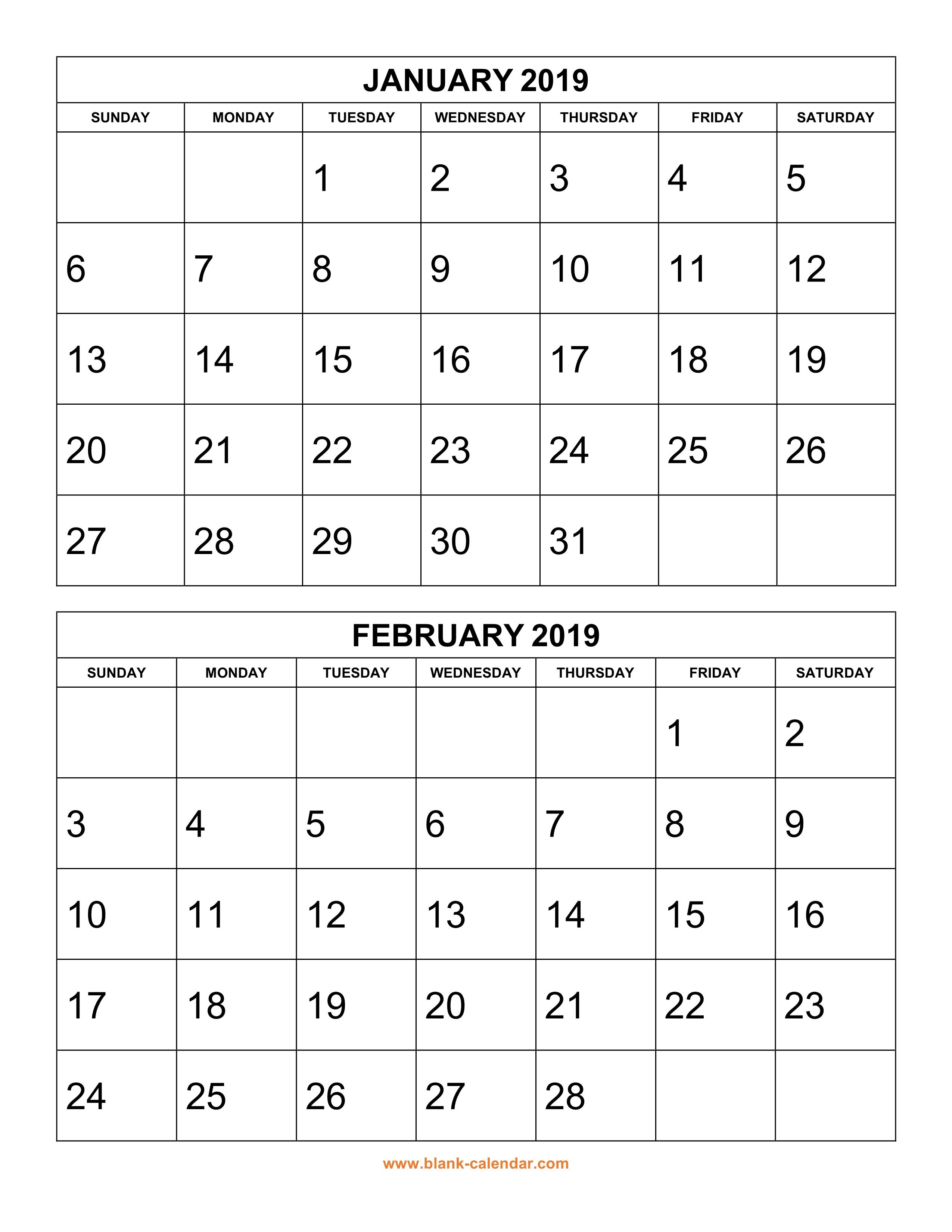 Free Download Printable Calendar 2019, 2 Months Per Page, 6 Pages in Blank 3 Month Printable Monthly Calendar
