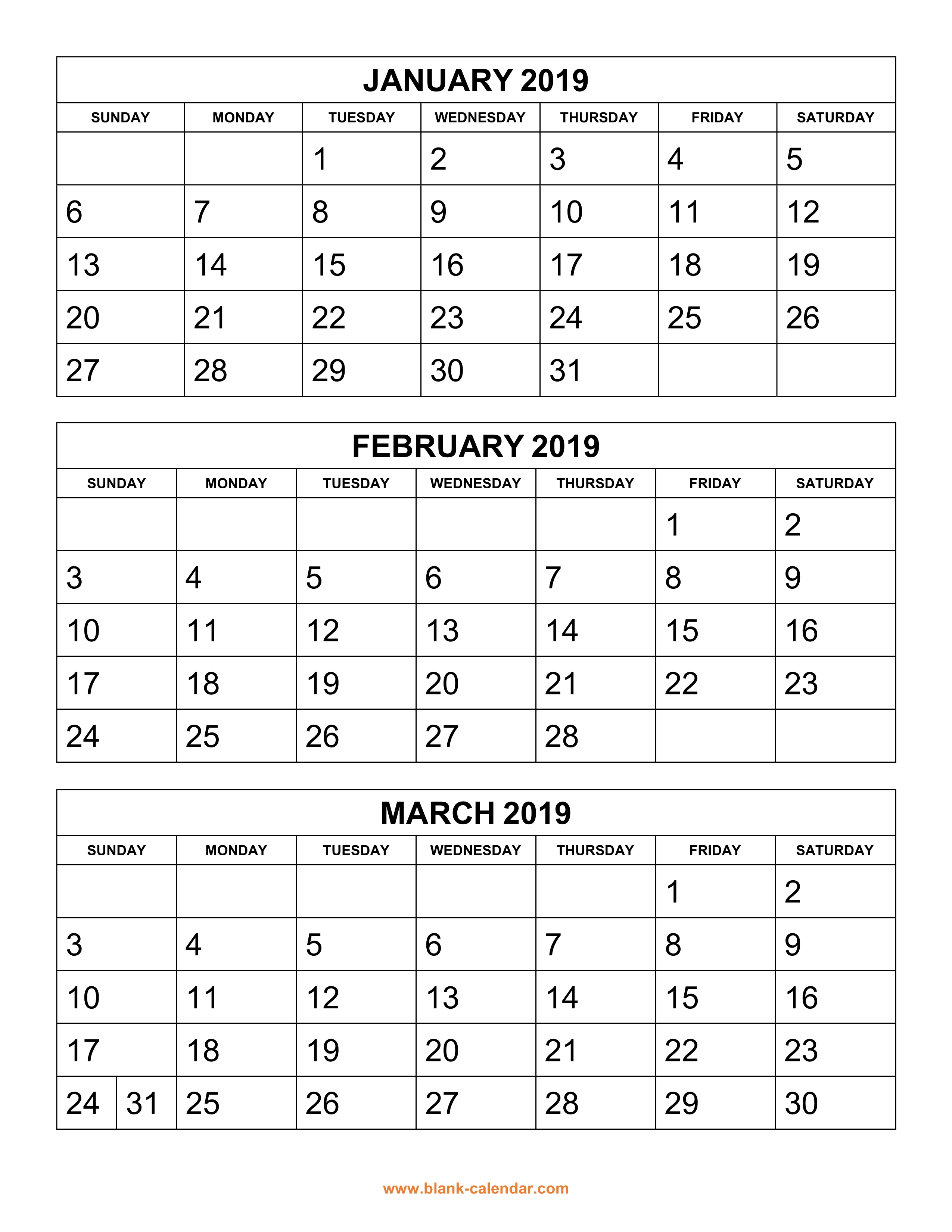 Free Download Printable Calendar 2019, 3 Months Per Page, 4 Pages with 3 Month Printable Calendar Template
