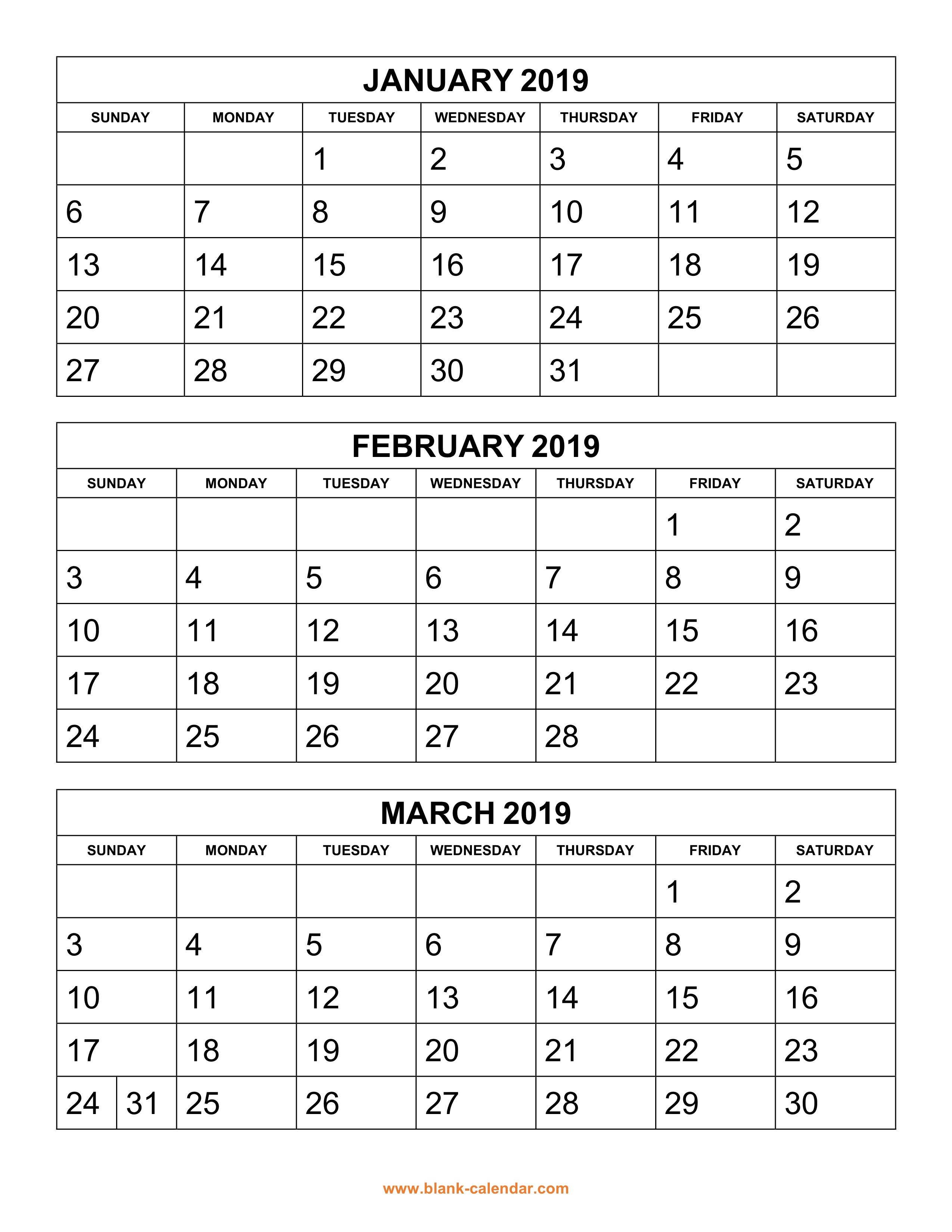 Free Download Printable Calendar 2019, 3 Months Per Page, 4 Pages with Blank 3 Month Printable Monthly Calendar