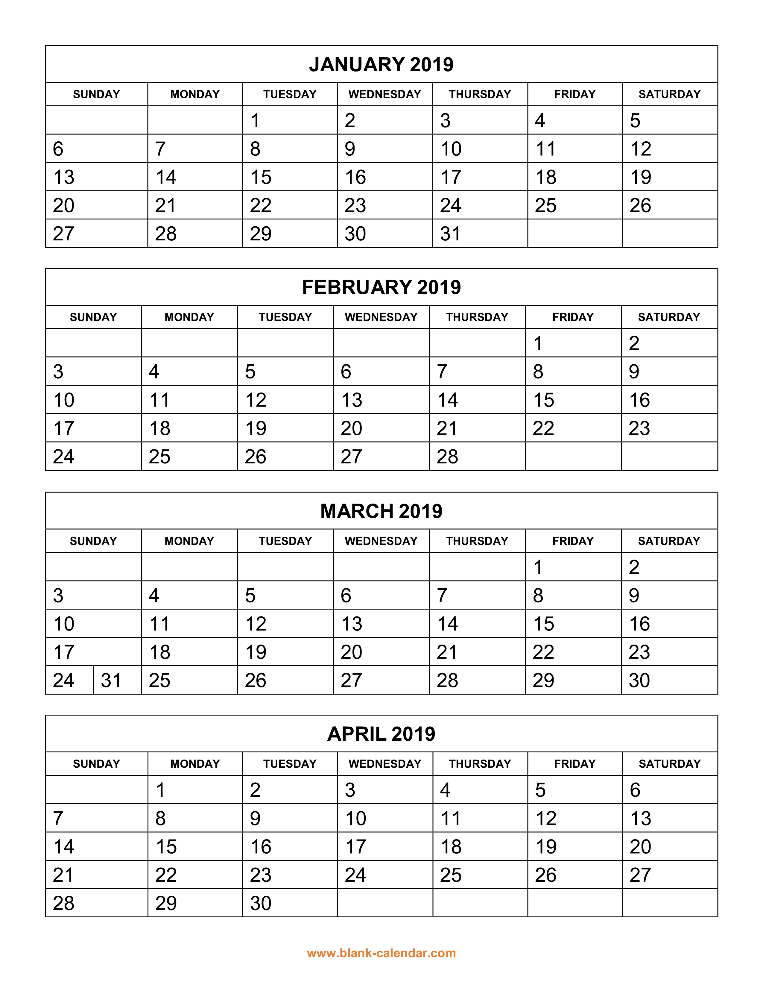Free Download Printable Calendar 2019, 4 Months Per Page, 3 Pages intended for Blank 3 Month Printable Monthly Calendar