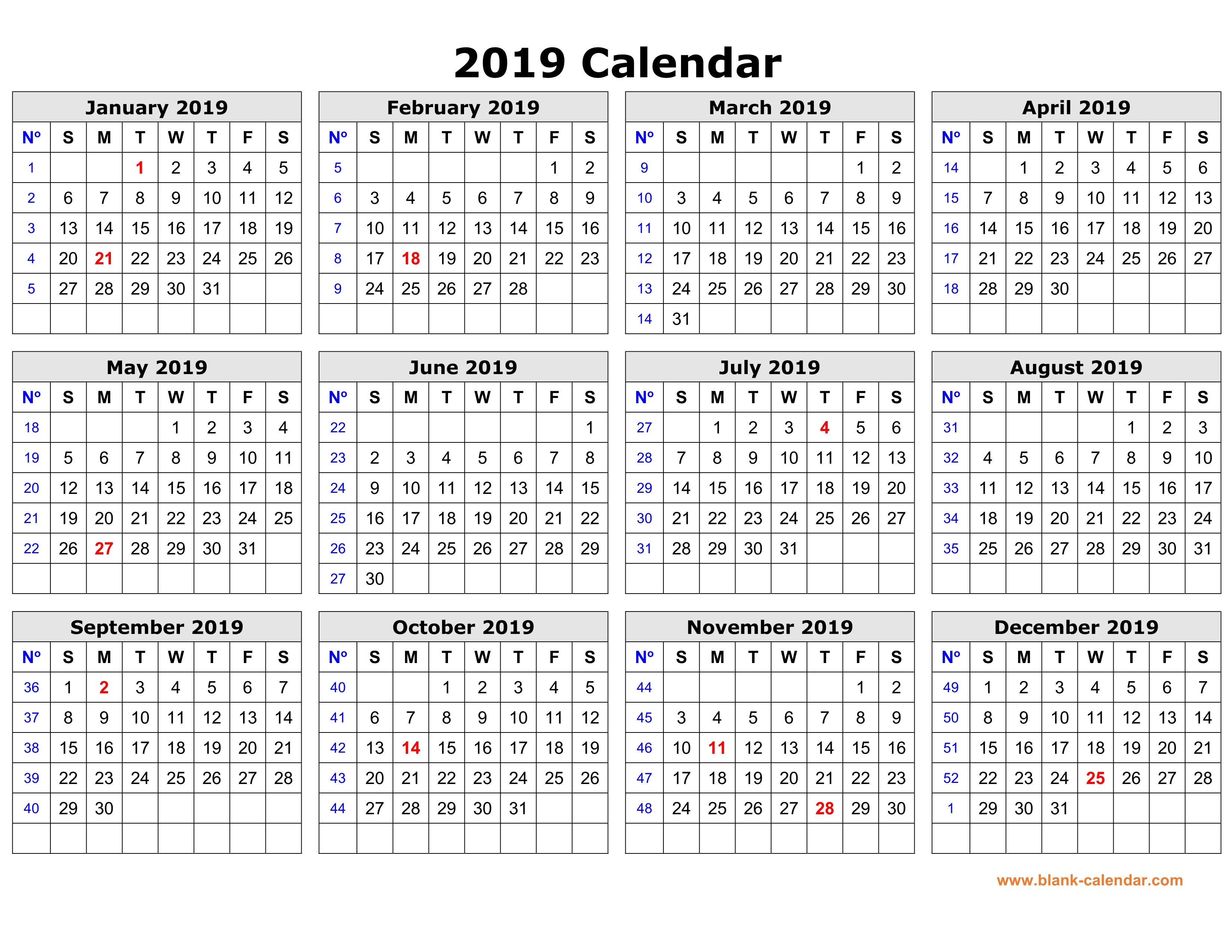Free Download Printable Calendar 2019 In One Page, Clean Design. inside One Page Yearly Calendar 2019-2020