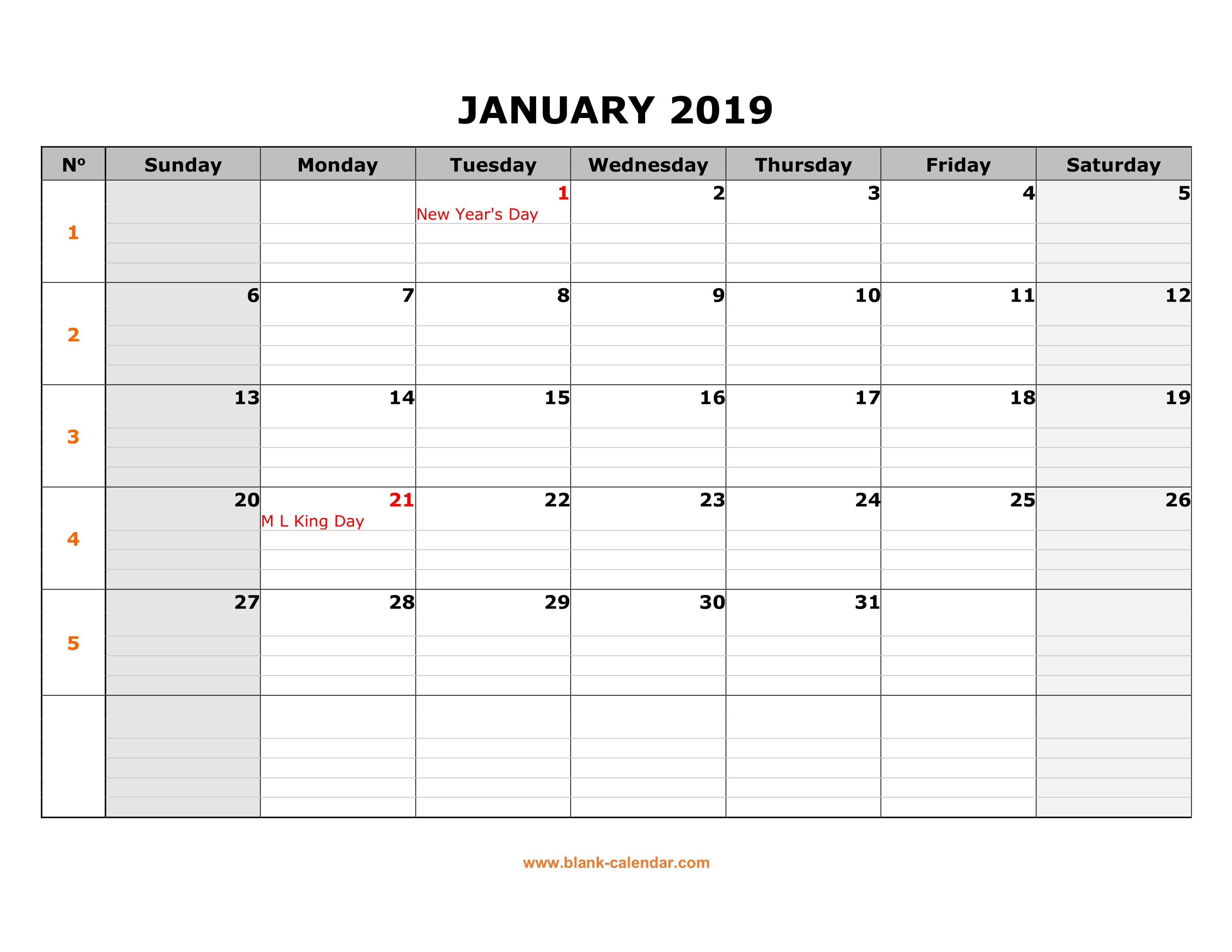 Free Download Printable Calendar 2019, Large Box Grid, Space For Notes in Large Printable Blank Calendar Pages