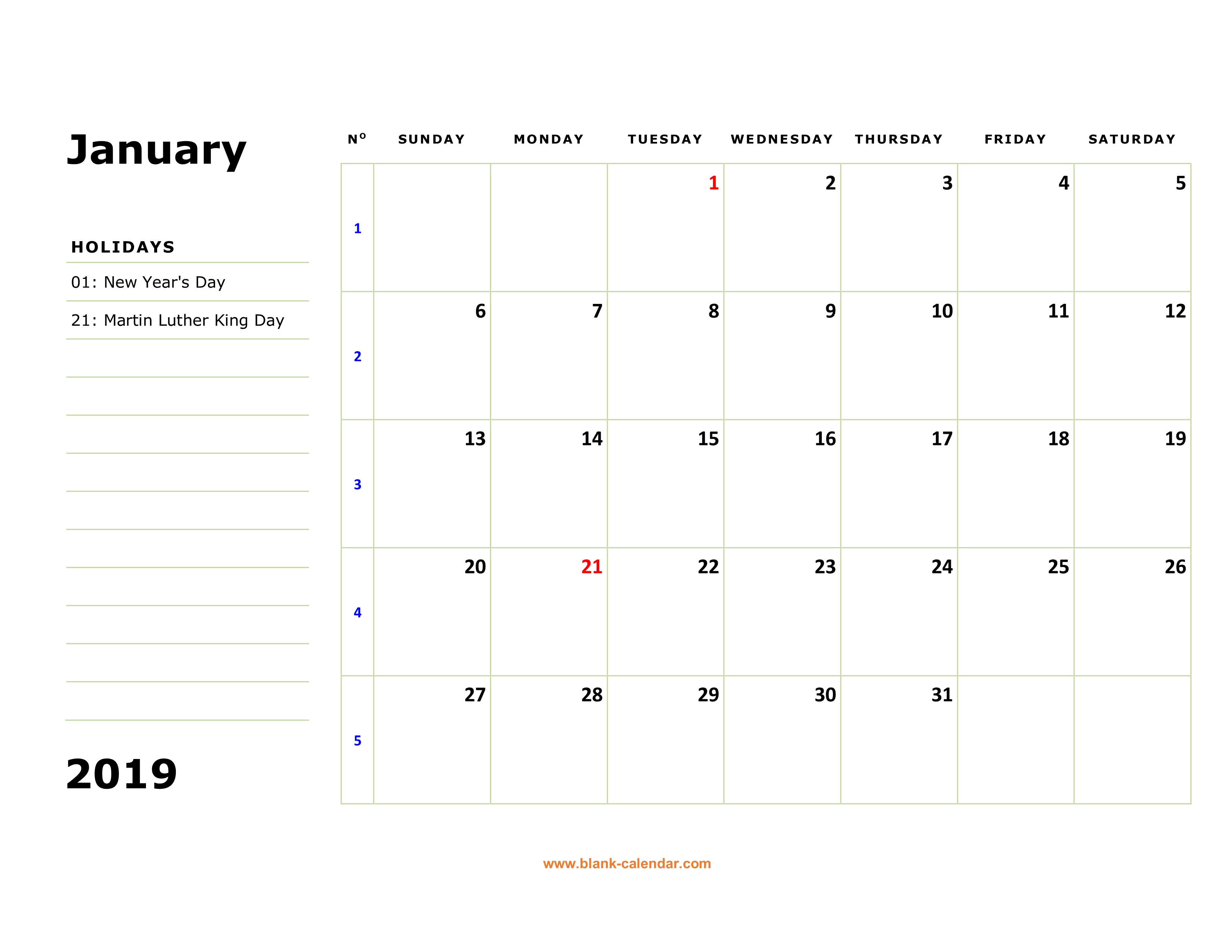 Free Download Printable Calendar 2019, Large Box, Holidays Listed within Blank Printable Calendar By Month With Notes