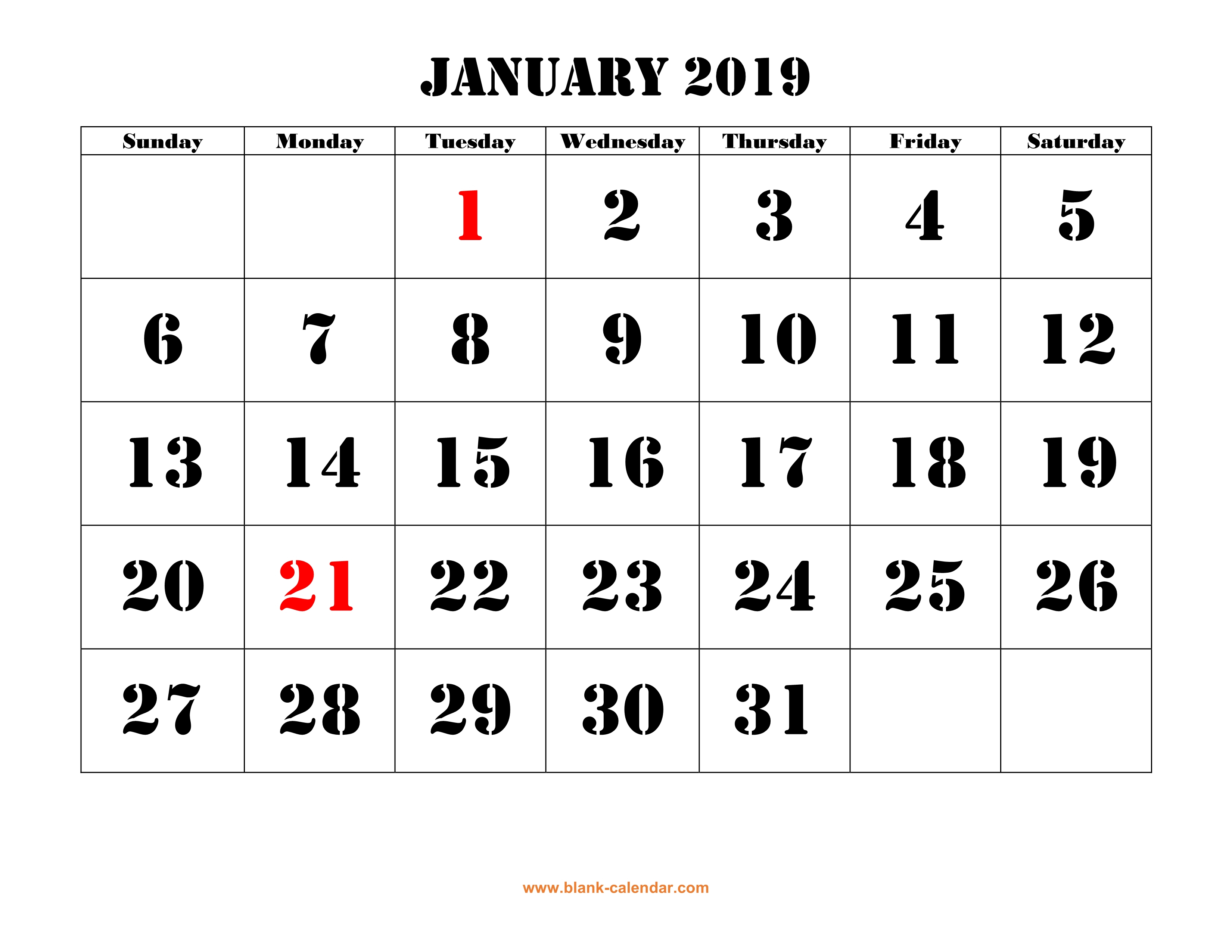 Free Download Printable Calendar 2019, Large Font Design , Holidays in 1 Page Calendar 2019-2020 With Major Holidays