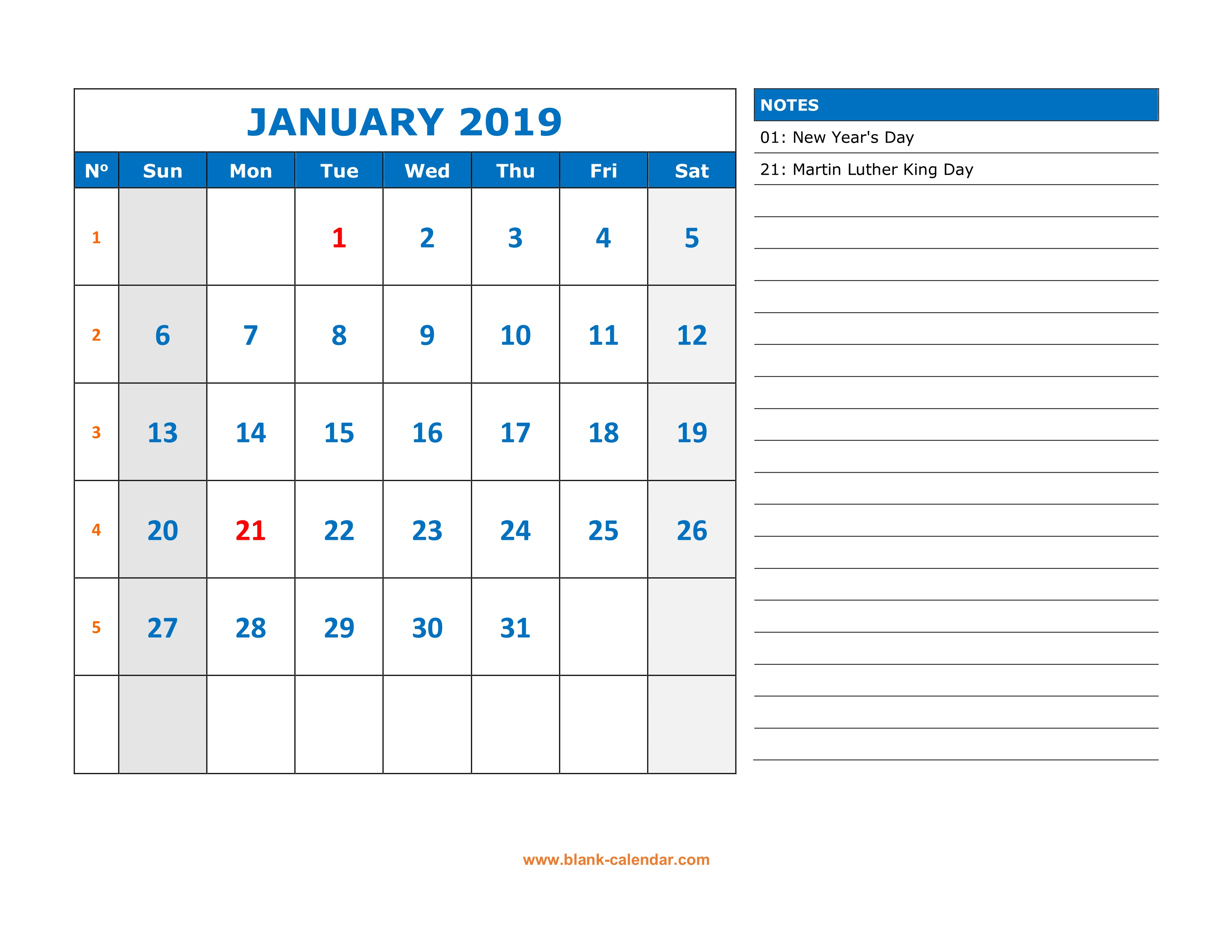 Free Download Printable Calendar 2019, Large Space For Appointment pertaining to Monthly Calendar Printable Template Notes Column