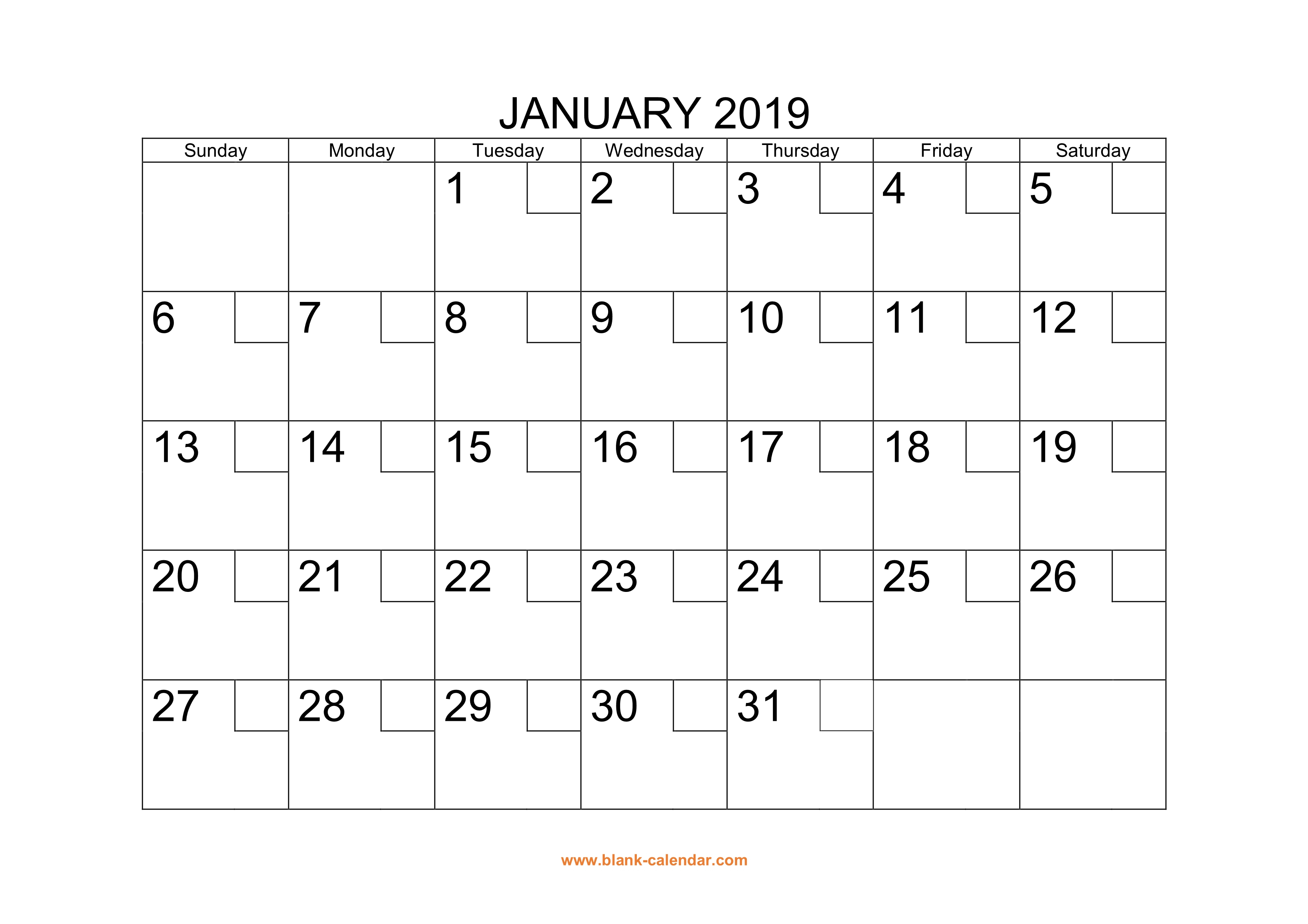 Free Download Printable Calendar 2019 With Check Boxes intended for Month By Month Blank Calendar