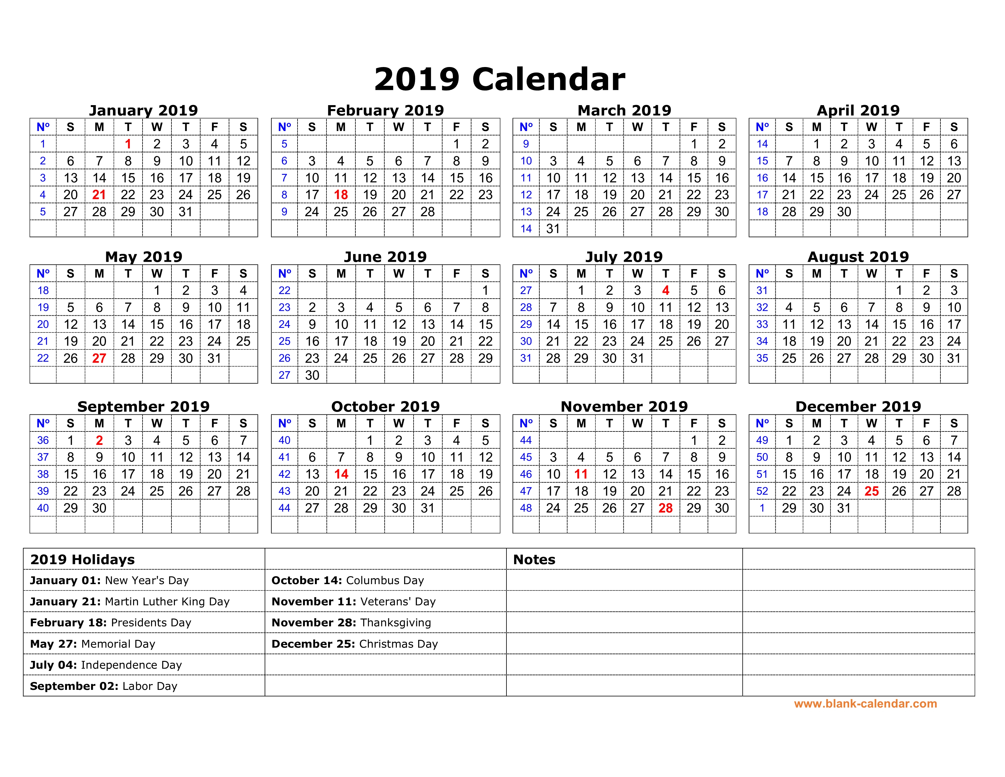 Free Download Printable Calendar 2019 With Us Federal Holidays, One for 1 Page Calendar 2019-2020 With Major Holidays