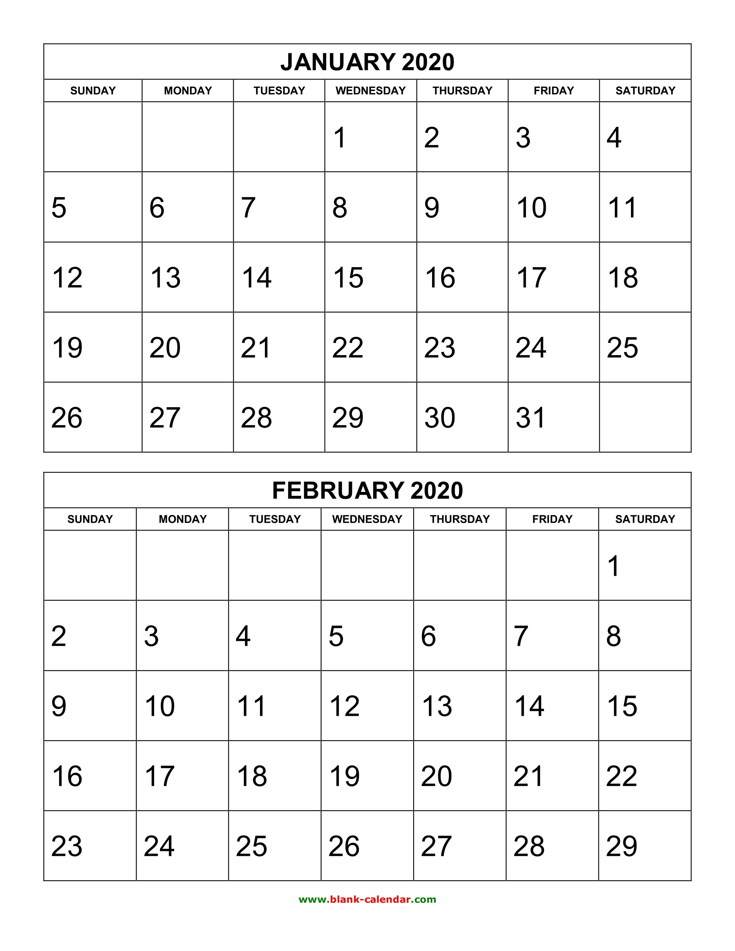 Free Download Printable Calendar 2020, 2 Months Per Page, 6 Pages regarding Free Printable 2019-2020 Calendar With Editing