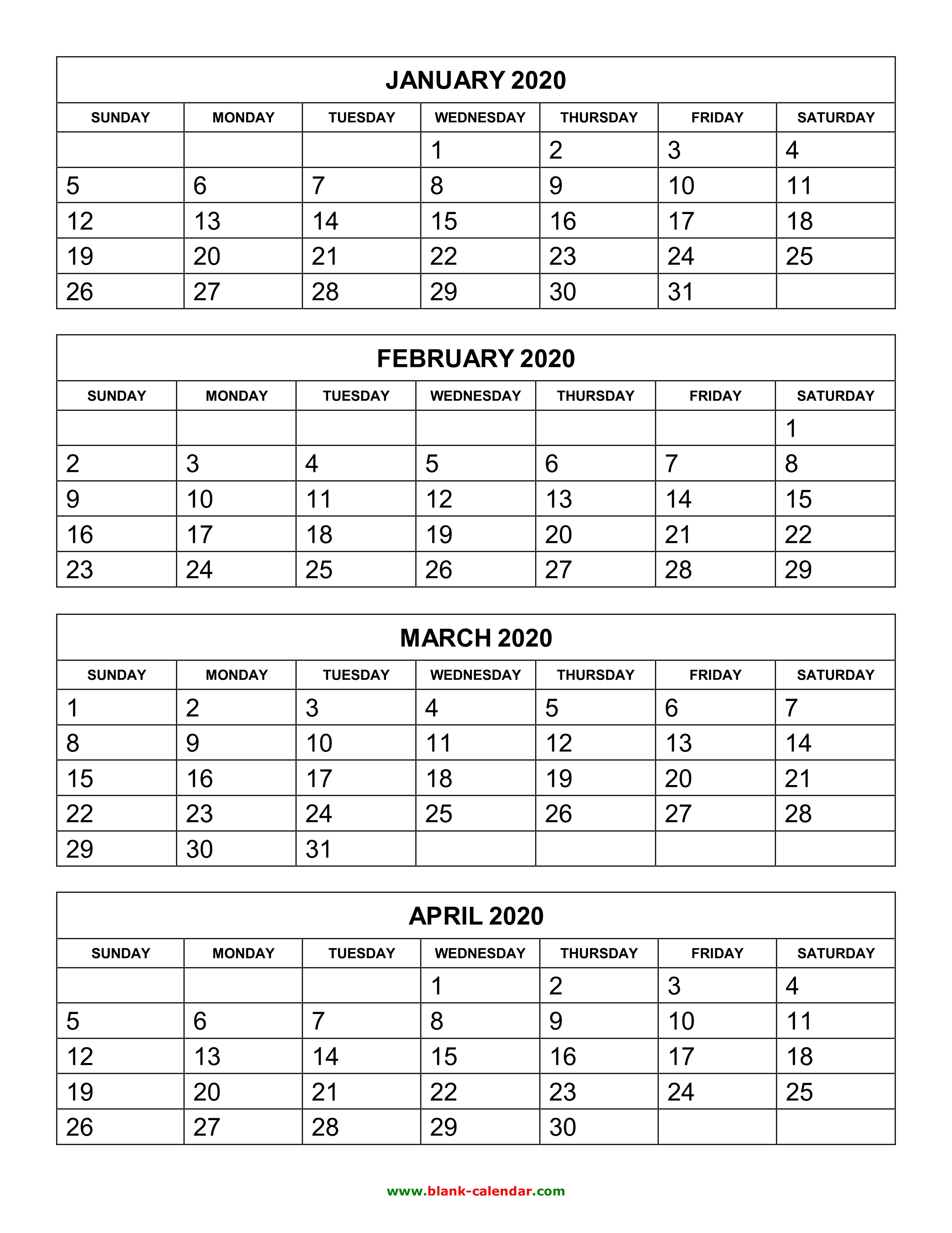 Free Download Printable Calendar 2020, 4 Months Per Page, 3 Pages with regard to Printable Blank 3 Month Calendar