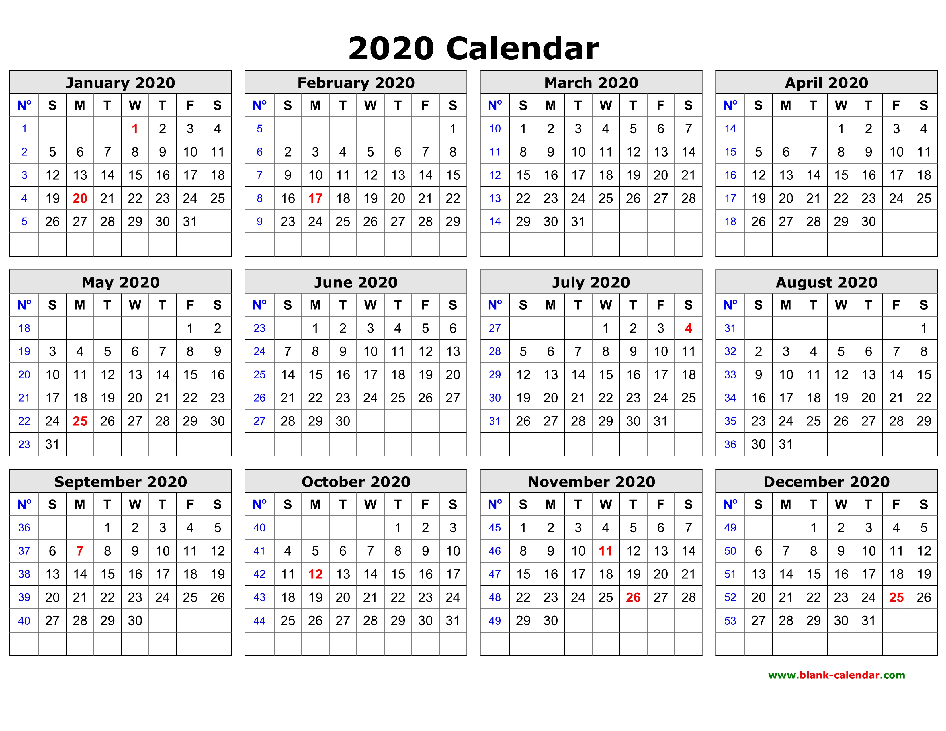 Free Download Printable Calendar 2020 In One Page, Clean Design. in Free Calendar 2020 Printable Without Download