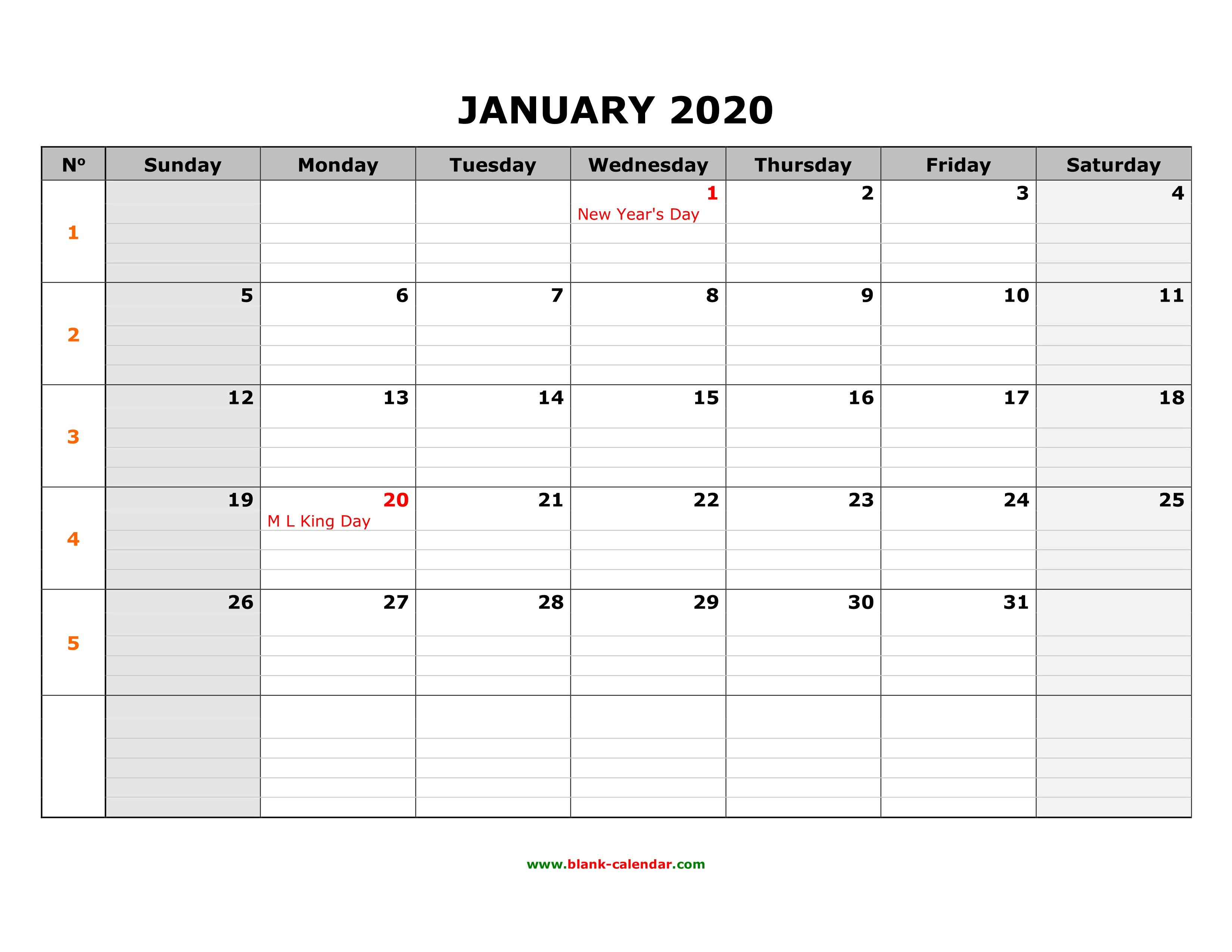 Free Download Printable Calendar 2020, Large Box Grid, Space For Notes throughout 2020 Free Printable Calendar Large Numbers