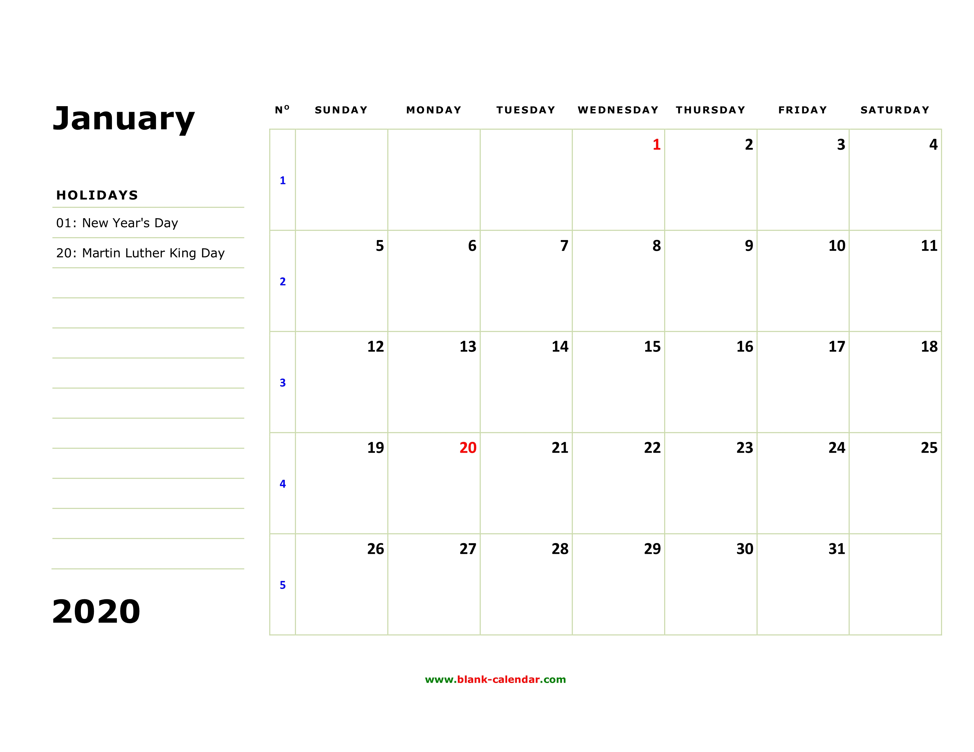 Free Download Printable Calendar 2020, Large Box, Holidays Listed intended for Large Printable Blank Calendar Pages