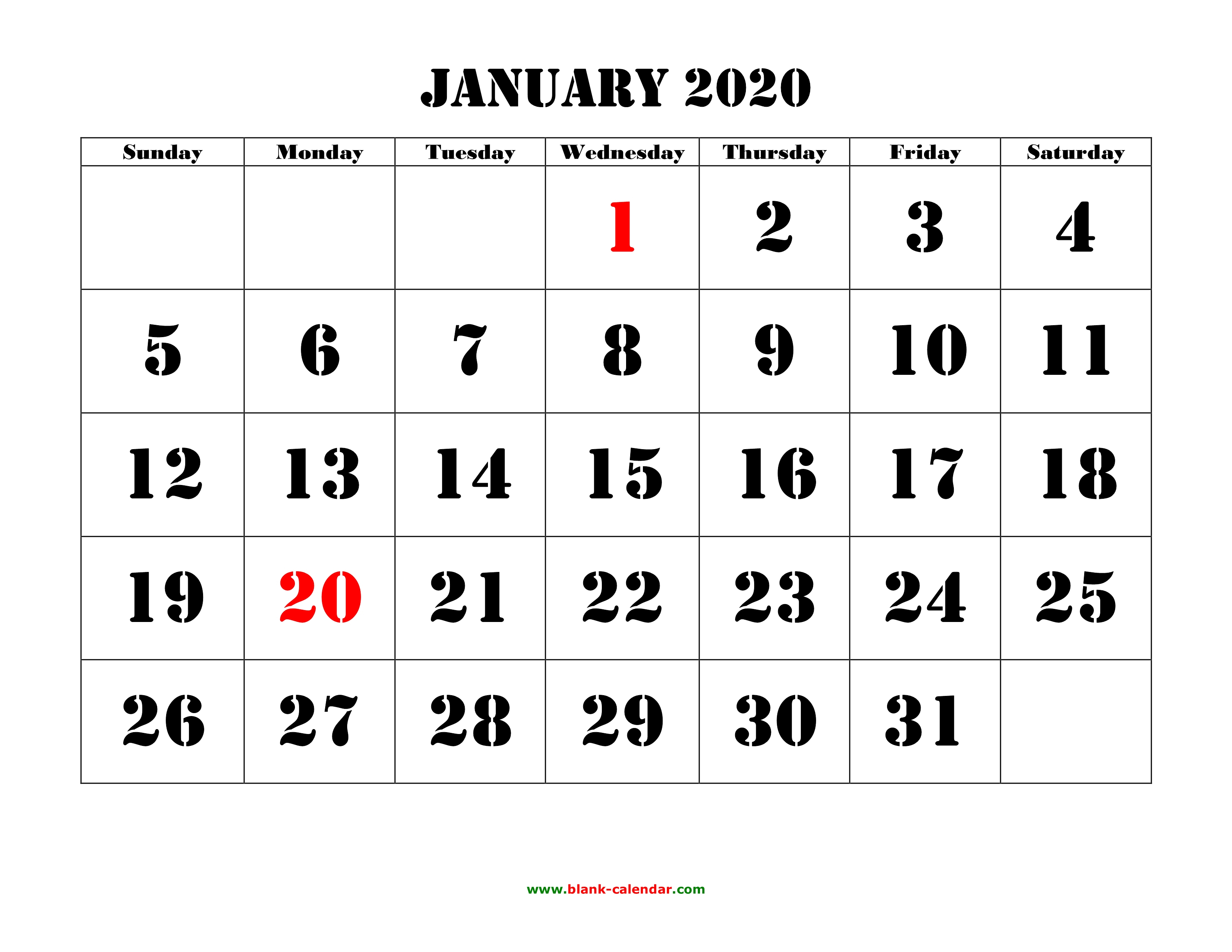 Free Download Printable Calendar 2020, Large Font Design , Holidays for Print Free 2020 Calendars Without Downloading