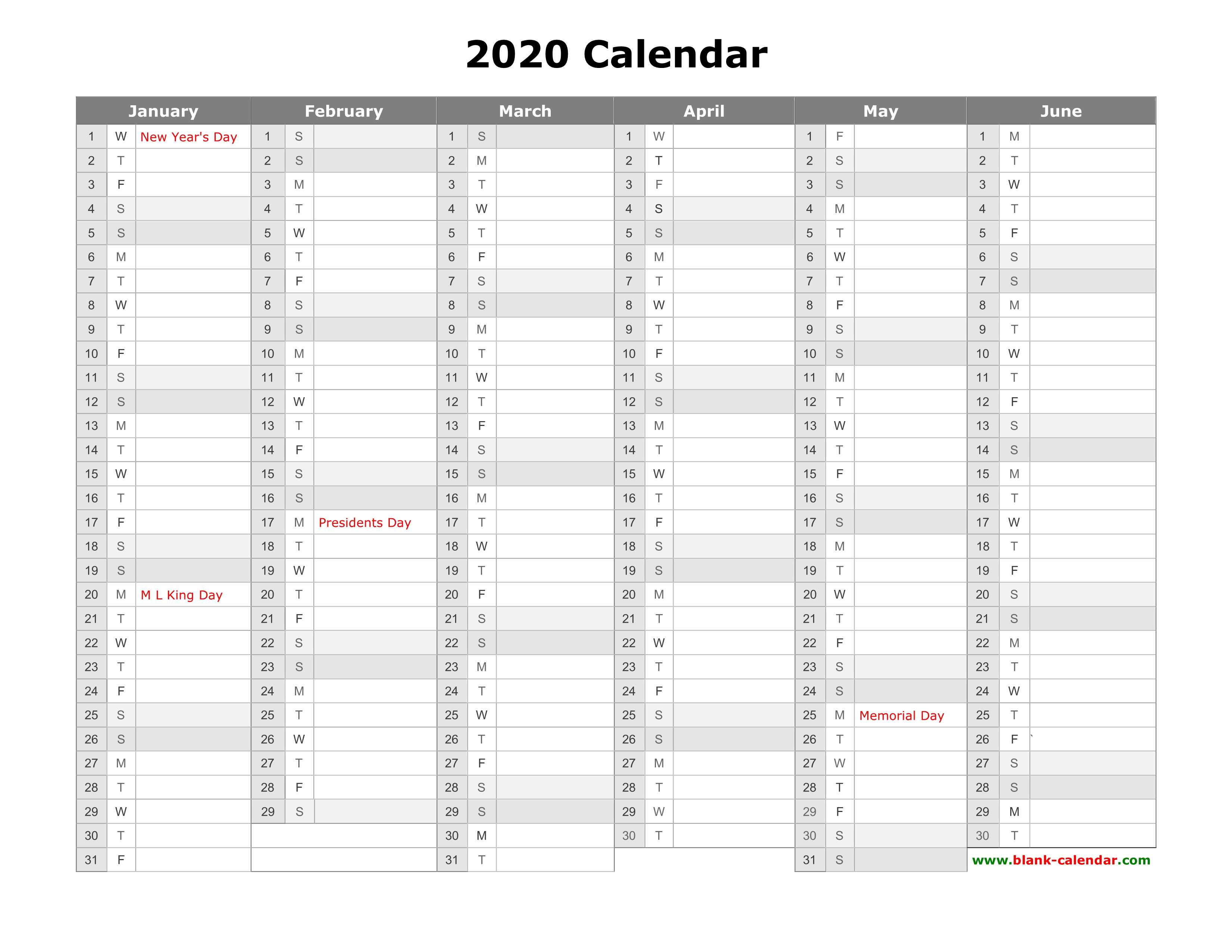 Free Download Printable Calendar 2020, Month In A Column, Half A throughout Blank Printable Calendars Yearly