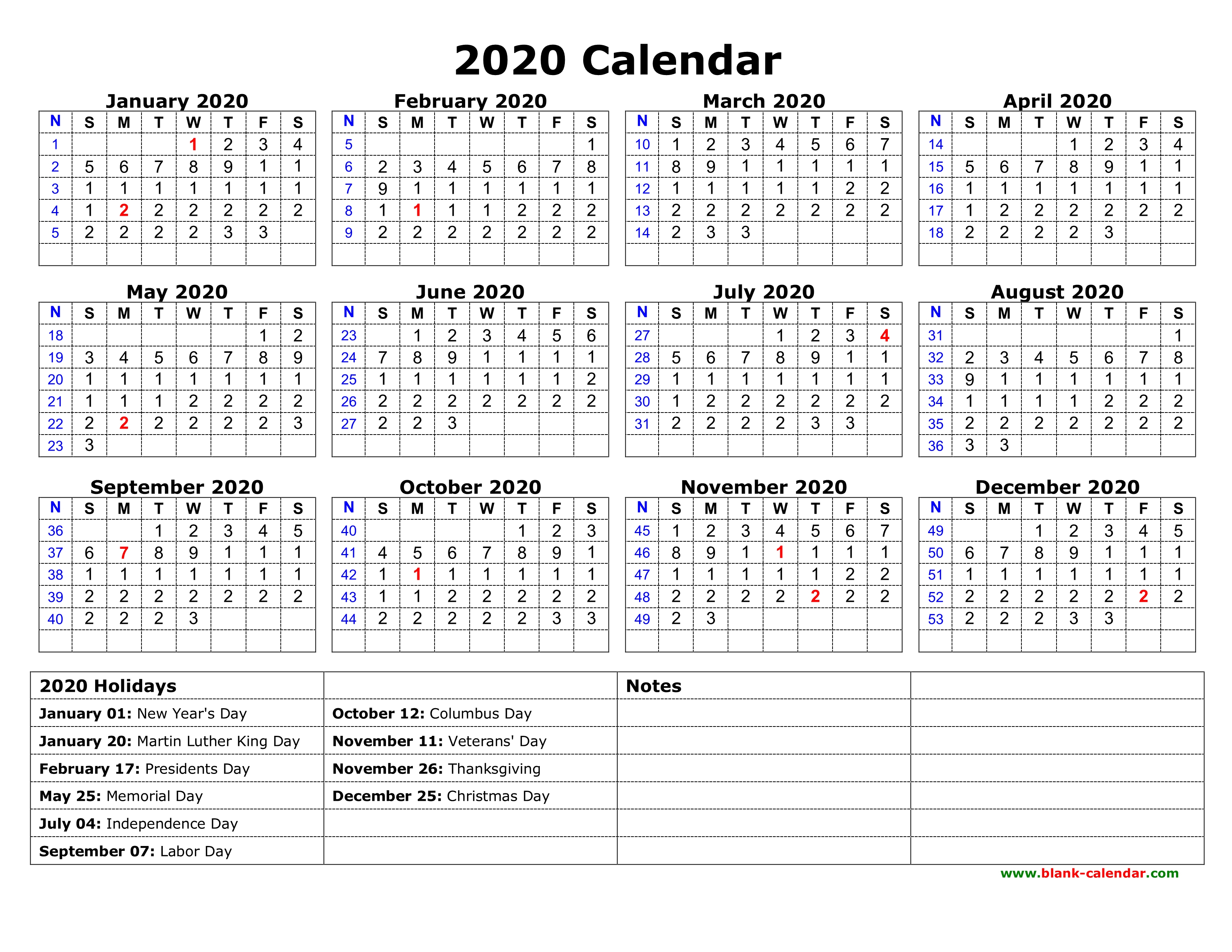 Free Download Printable Calendar 2020 With Us Federal Holidays, One inside 2020 Calendar Printable One Page
