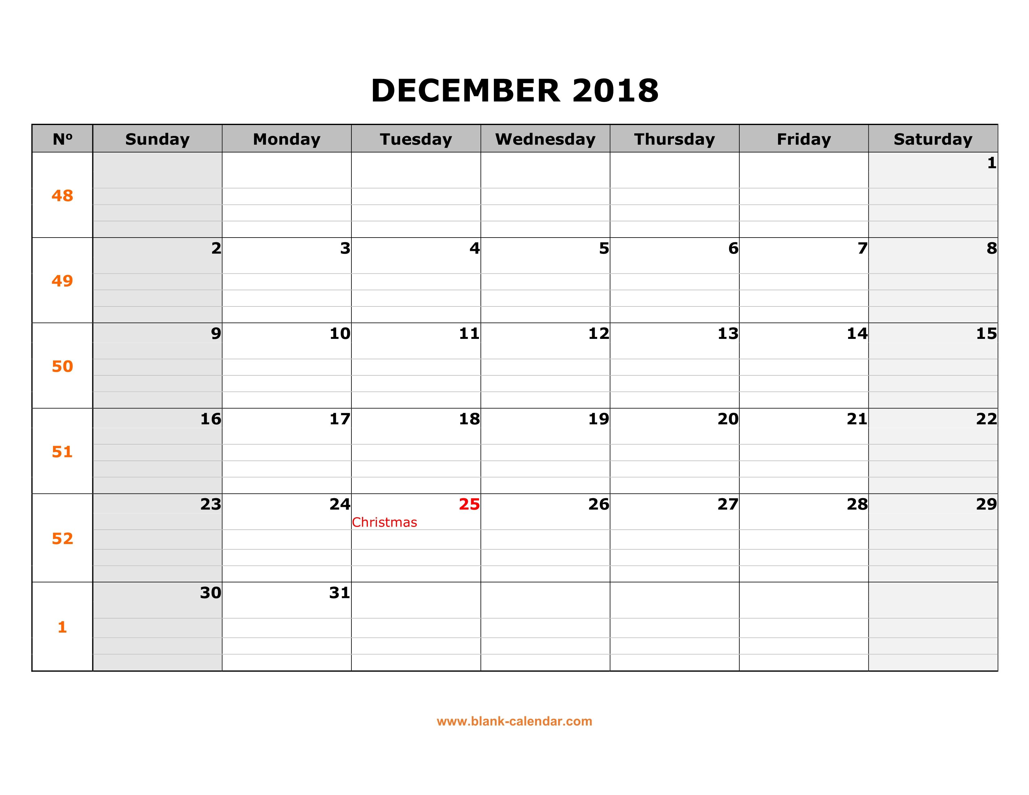 Free Download Printable December 2018 Calendar, Large Box Grid within Blank Calendar Printable December