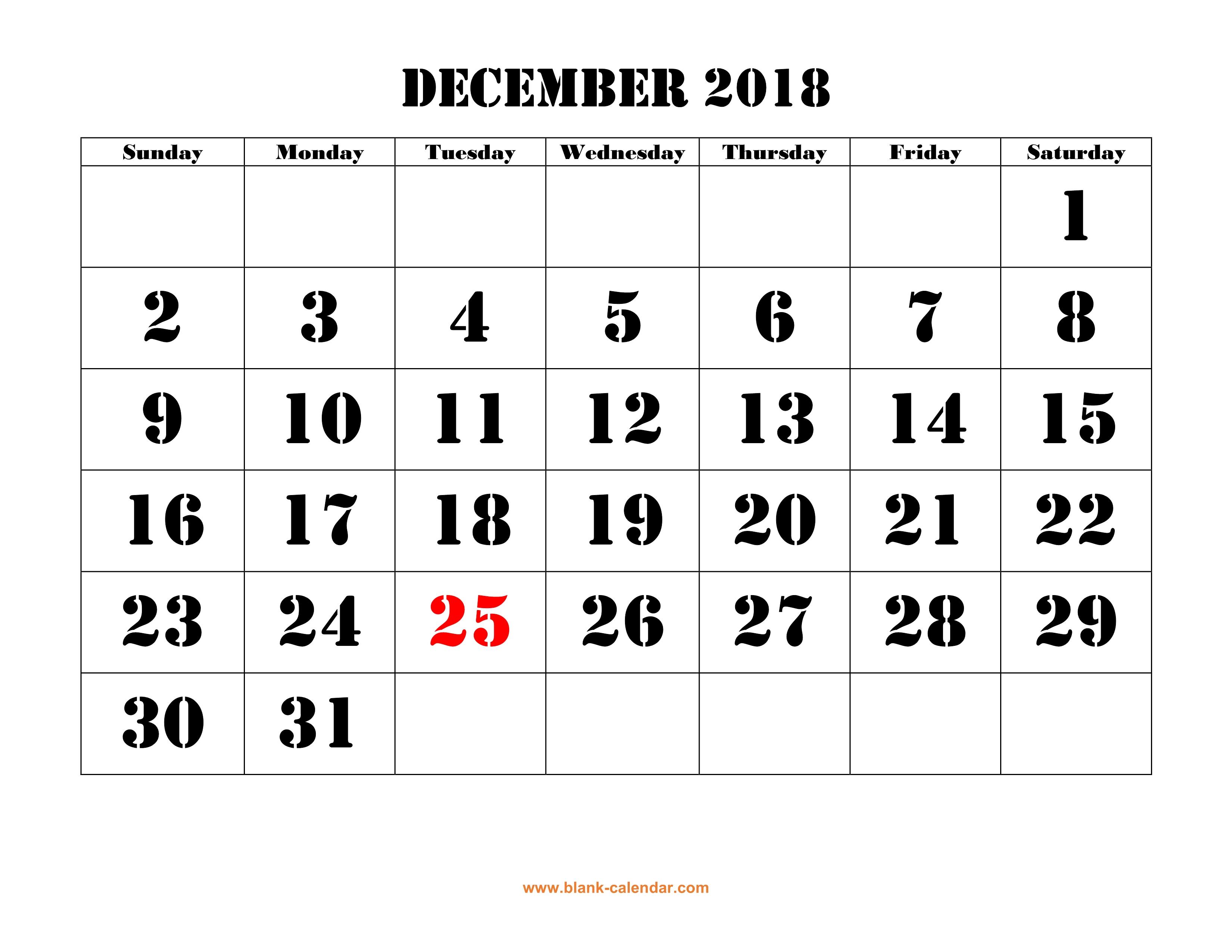 Free Download Printable December 2018 Calendar, Large Font Design within Blank Calendar For December