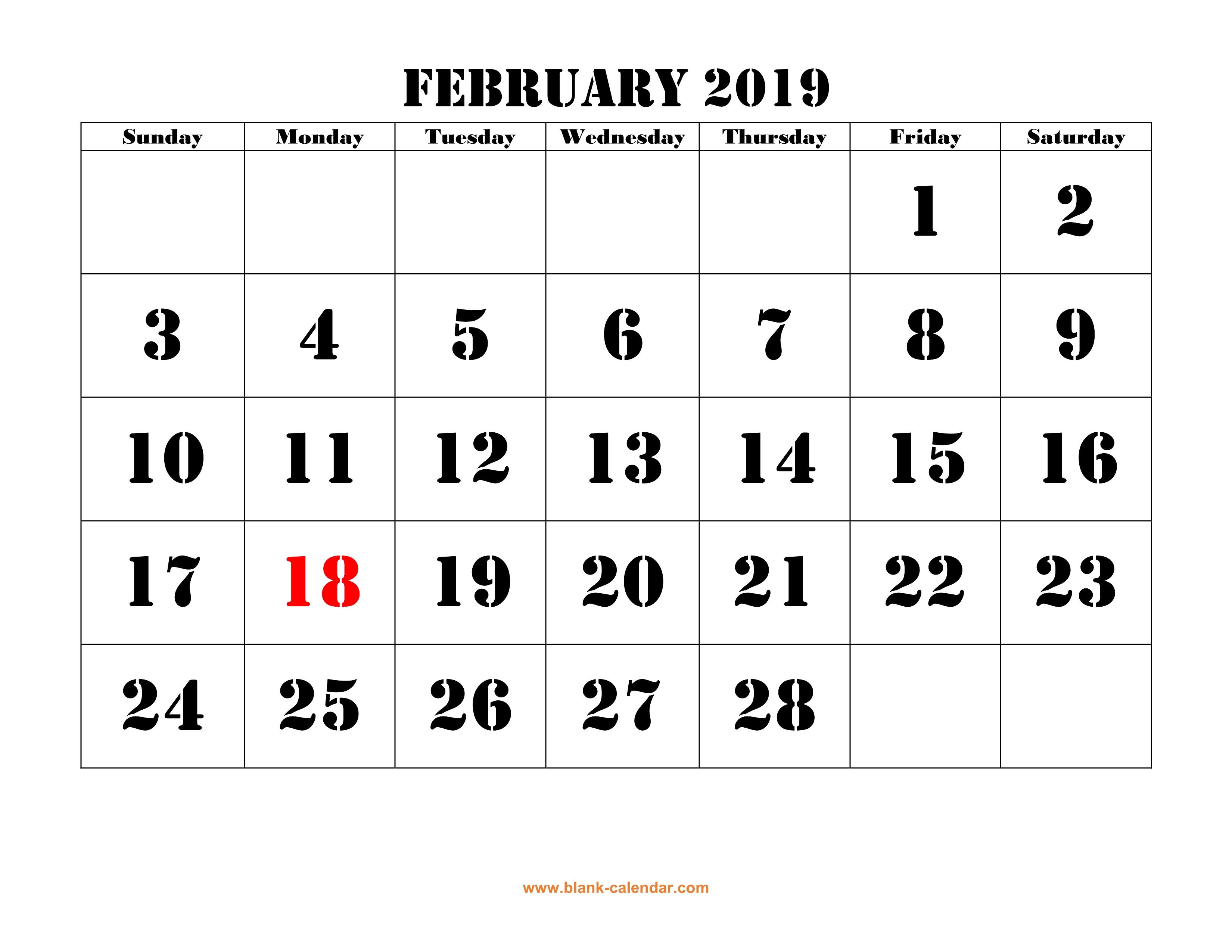 Free Download Printable February 2019 Calendar, Large Font Design intended for Blank Bold December Calendar