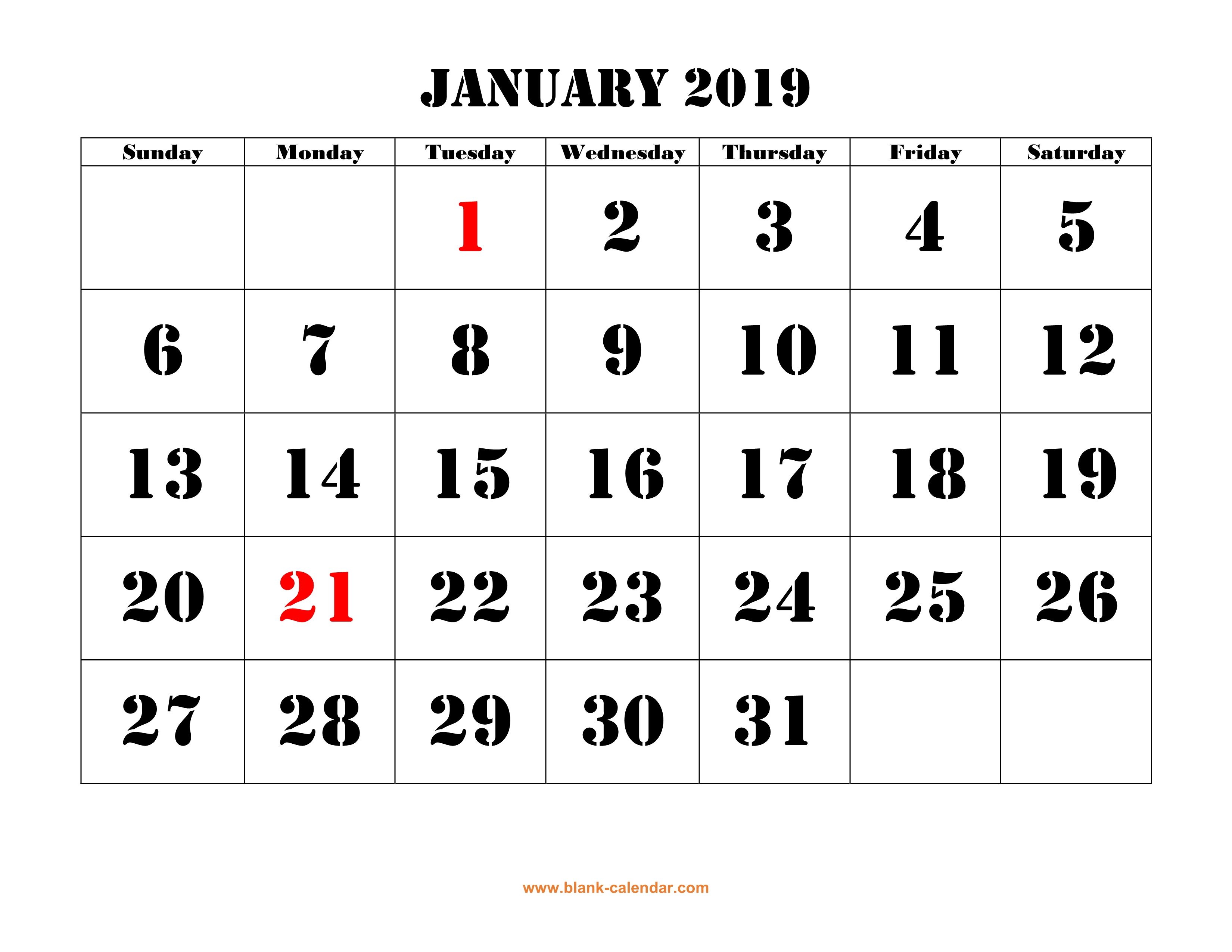 Free Download Printable January 2019 Calendar, Large Font Design pertaining to January Calendar Printable Template With Holidays