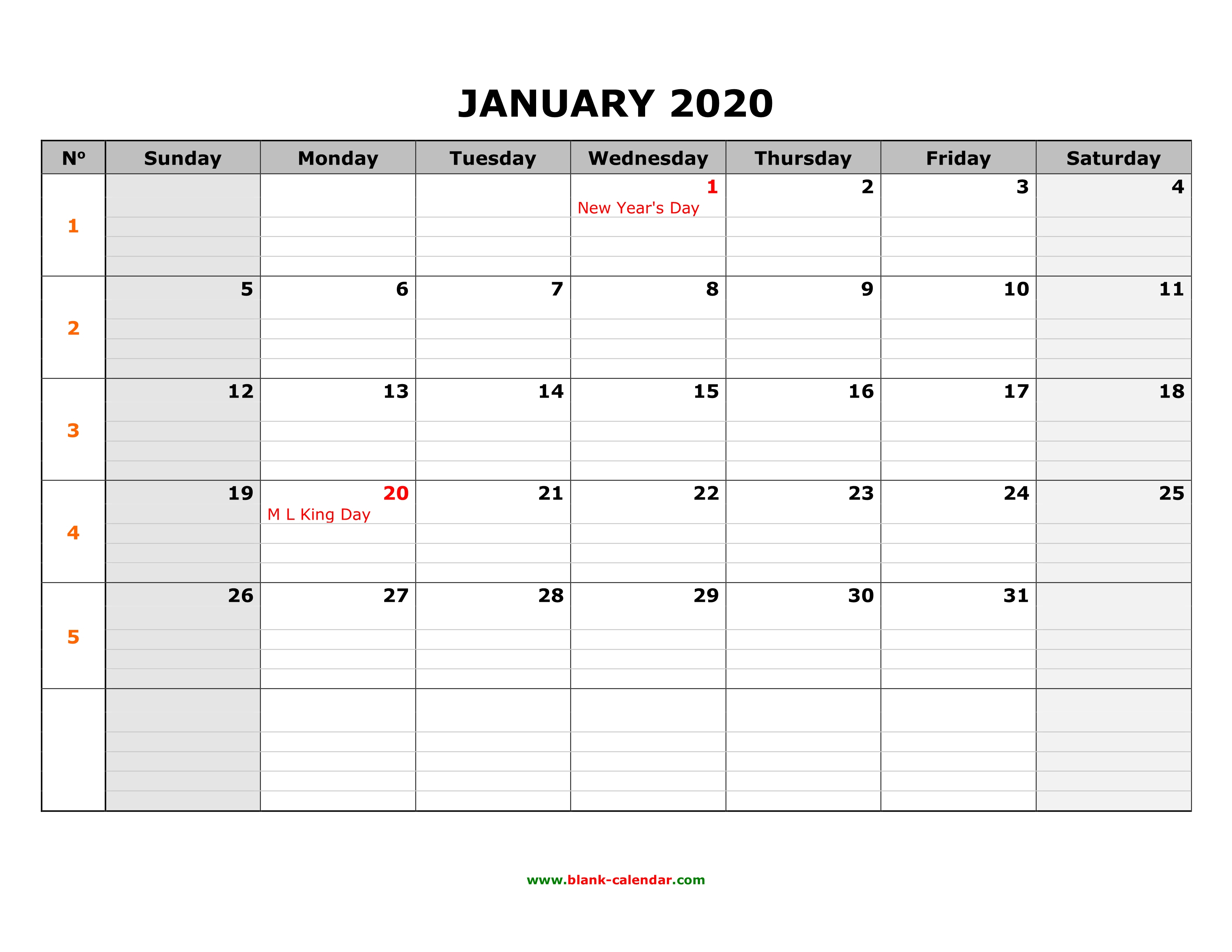 Free Download Printable January 2020 Calendar, Large Box Grid, Space for Large Blank Monthly Calendars January Printable